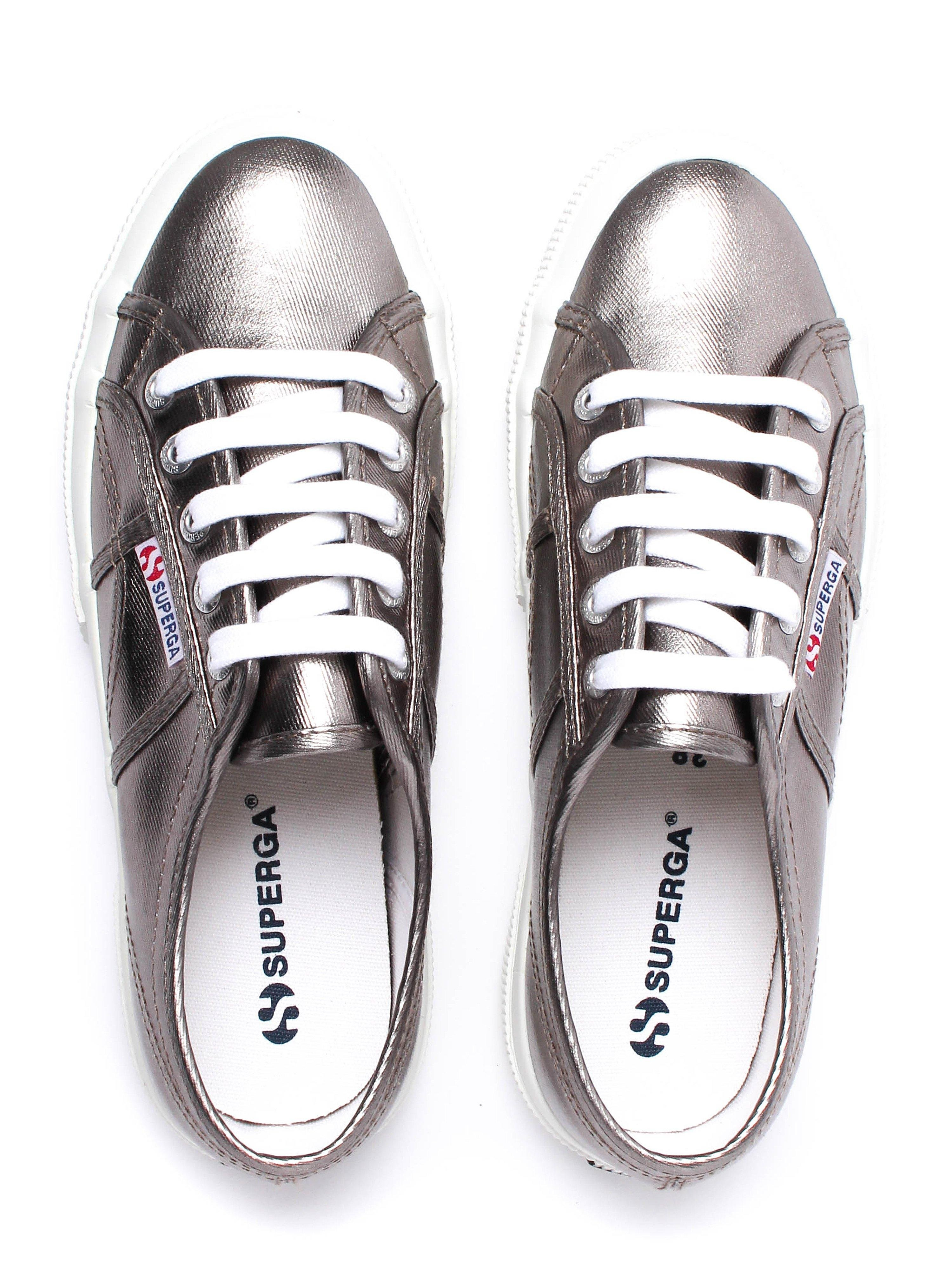 Superga Women's 2750 Metu Metallic Canvas Trainers - Pewter
