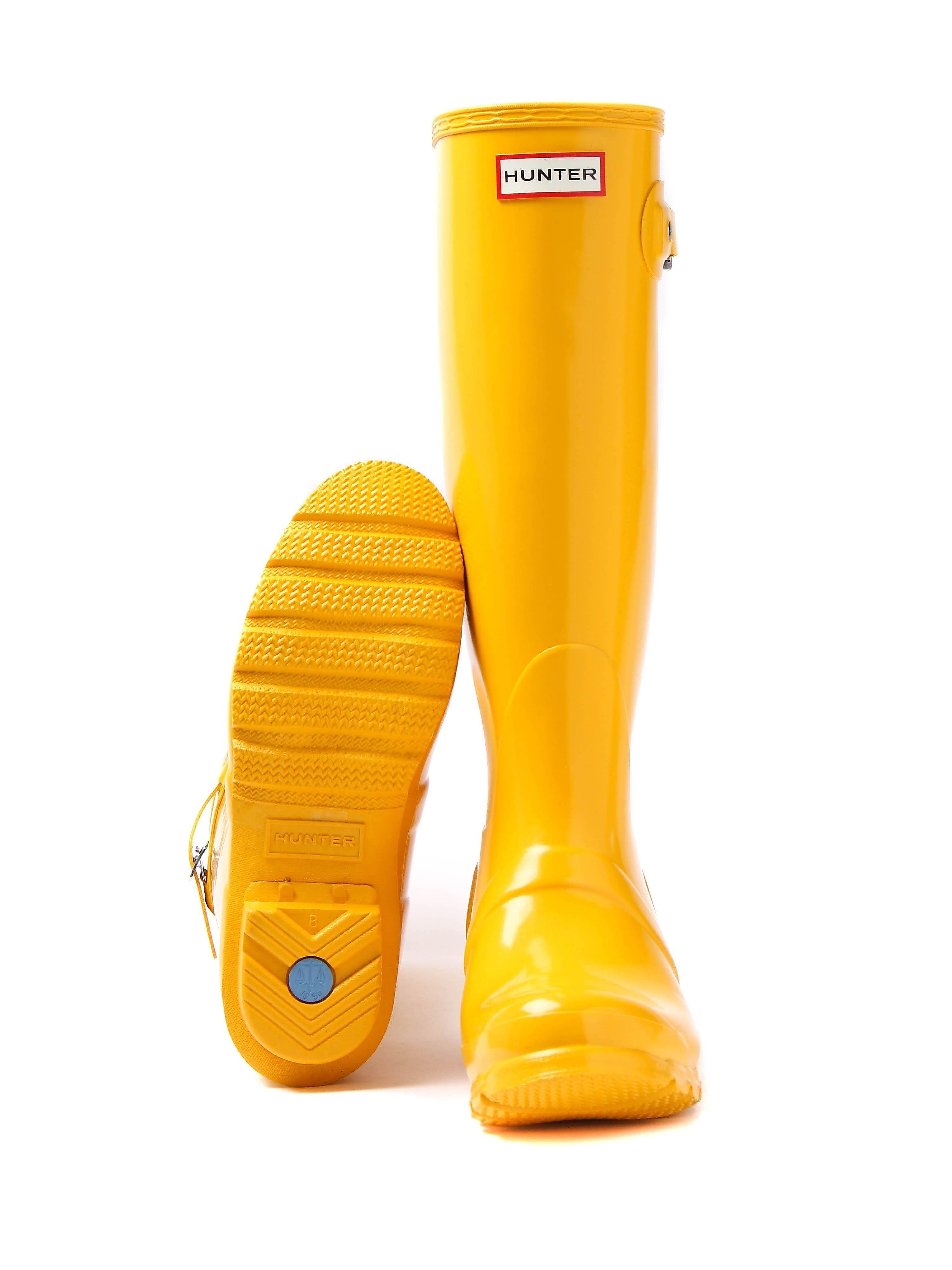 Hunter Wellies Women's Original Tall Wellington Boots - Yellow Gloss