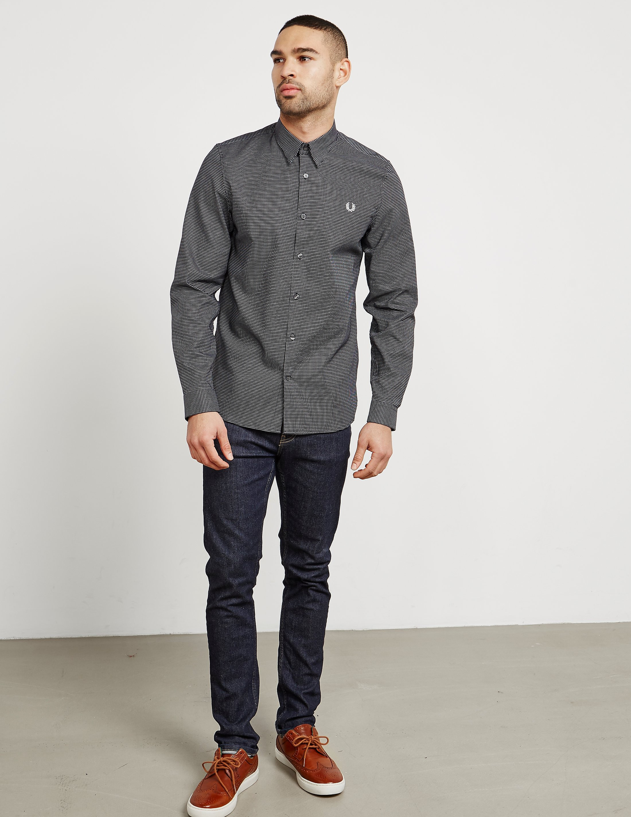 Fred Perry Micro Square Long Sleeve Shirt