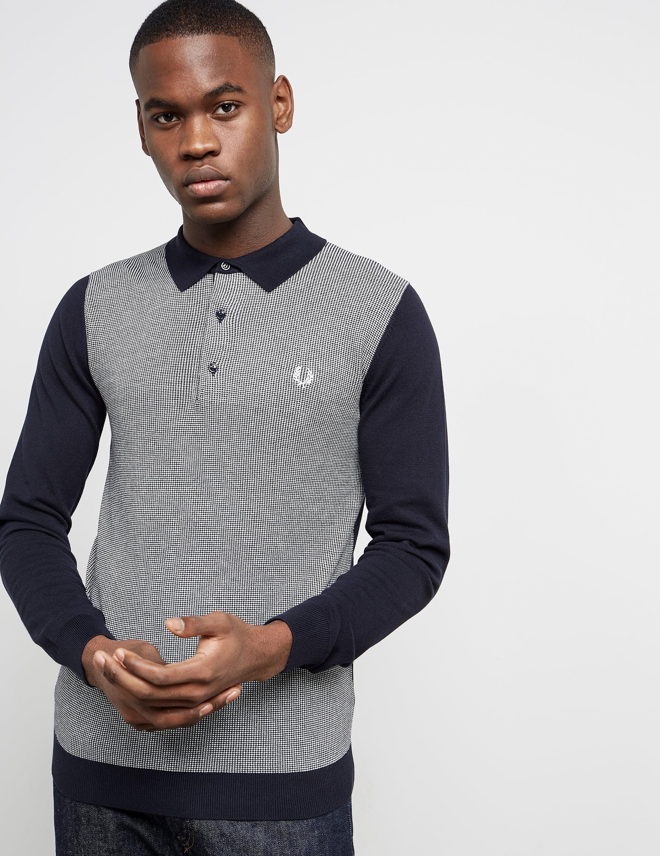 Fred Perry Long Sleeve Jacquard Polo Shirt