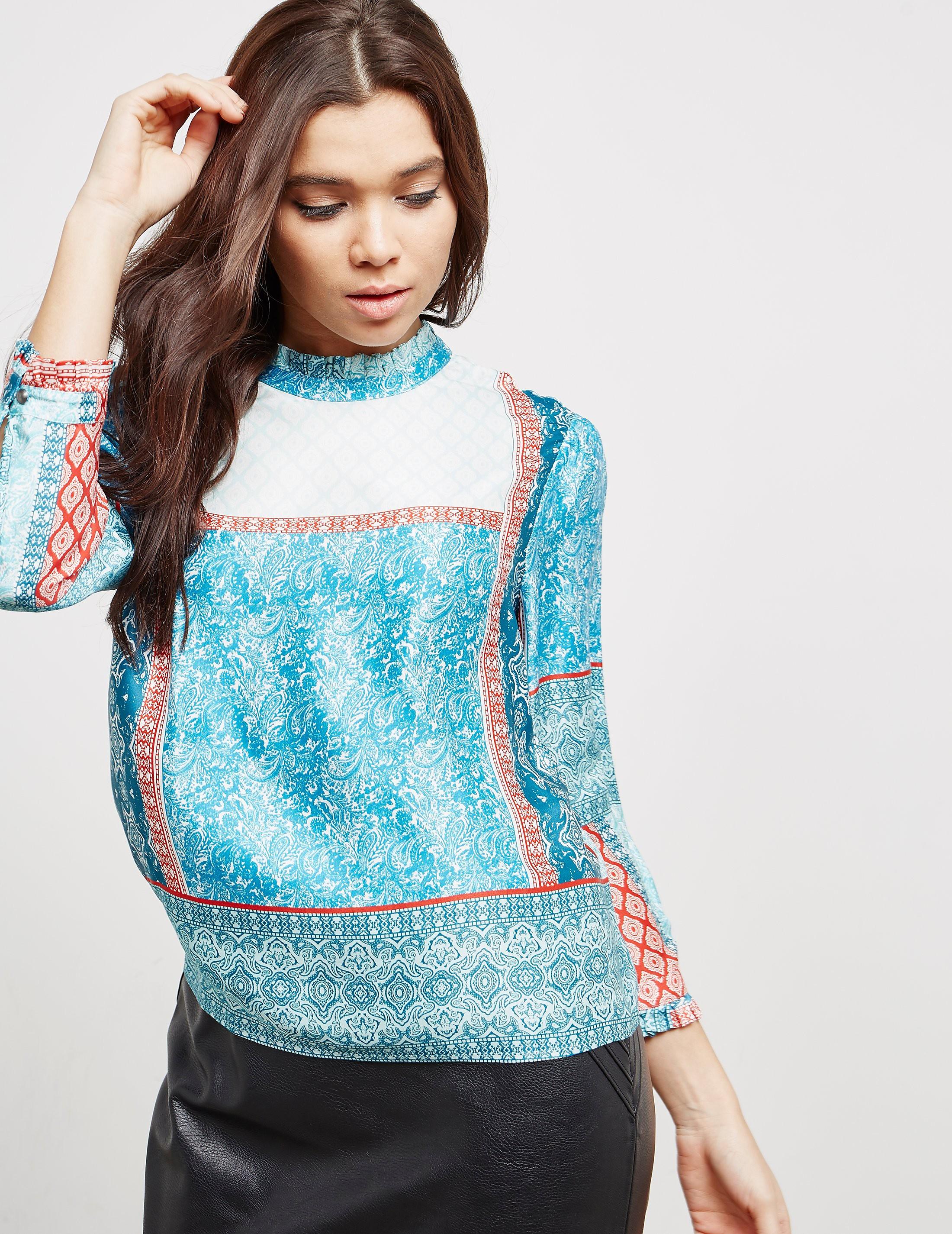 BOSS Paisley Silk Long Sleeve Top