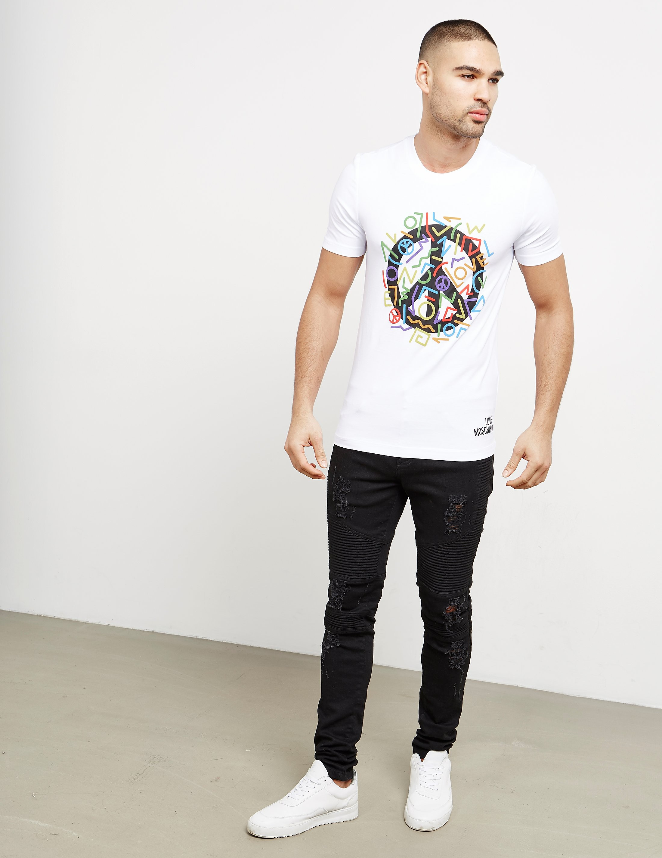 Love Moschino Color Peace Short Sleeve T-Shirt