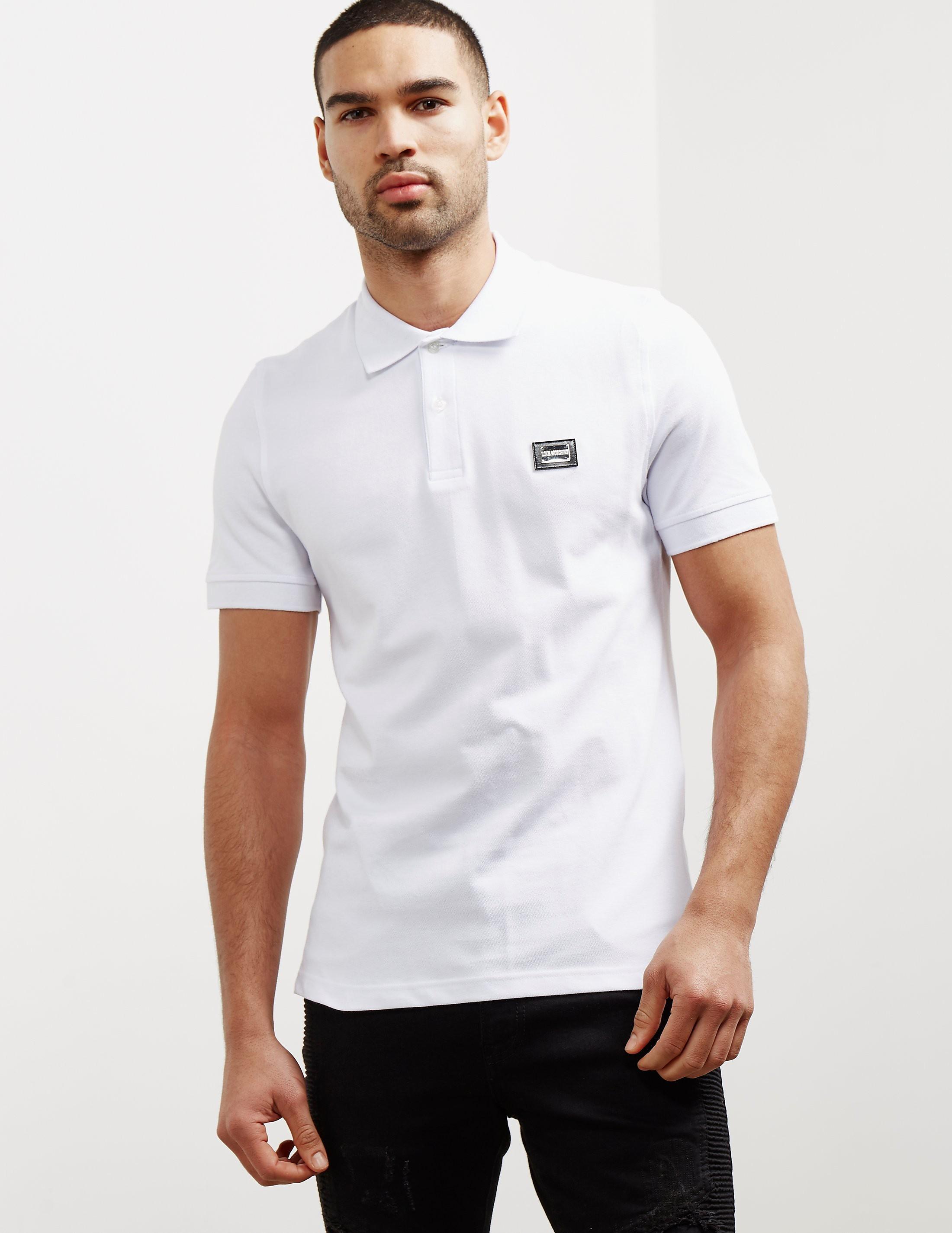 Love Moschino Plaque Short Sleeve Polo Shirt