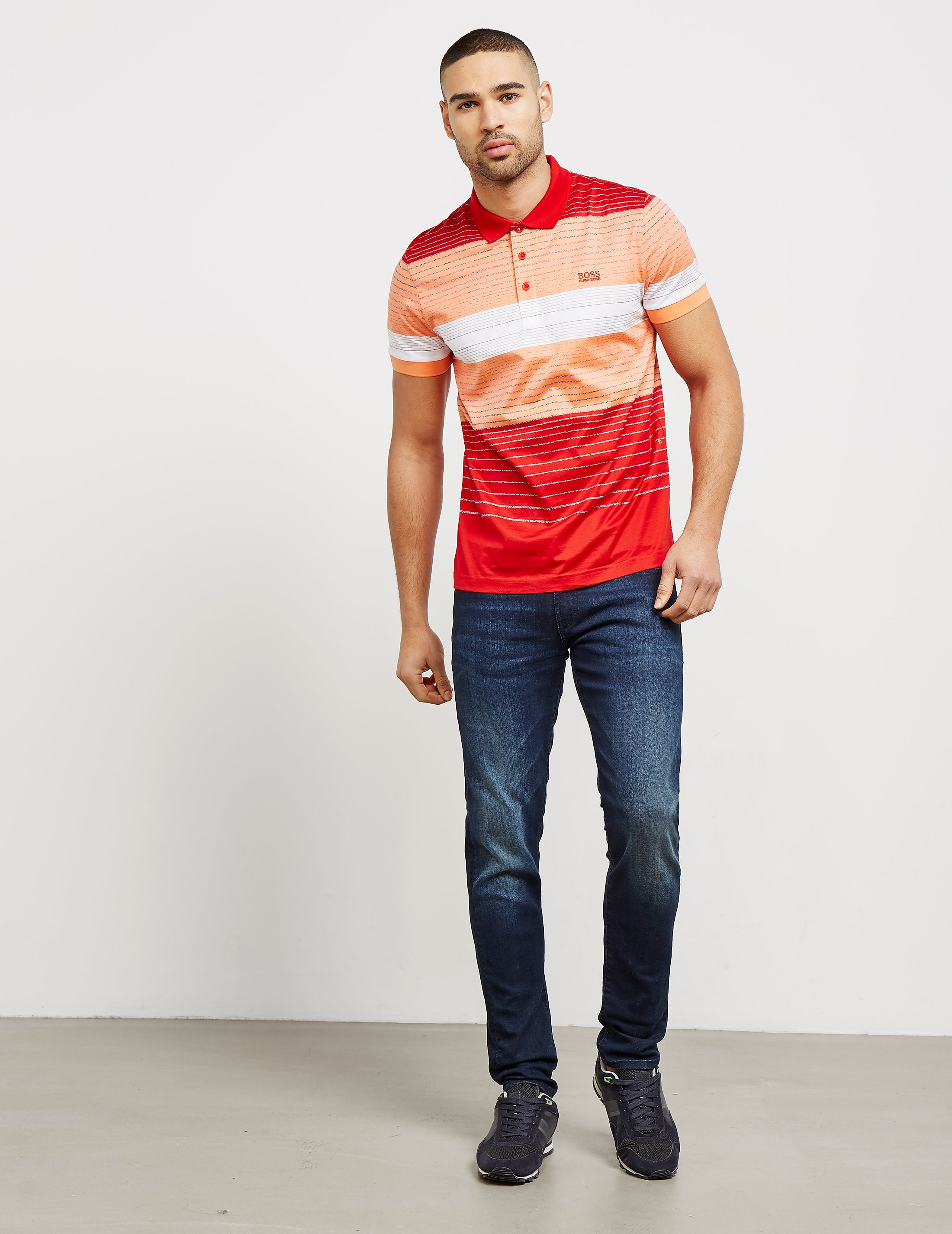 BOSS Green Paddy Stripe Short Sleeve Polo Shirt