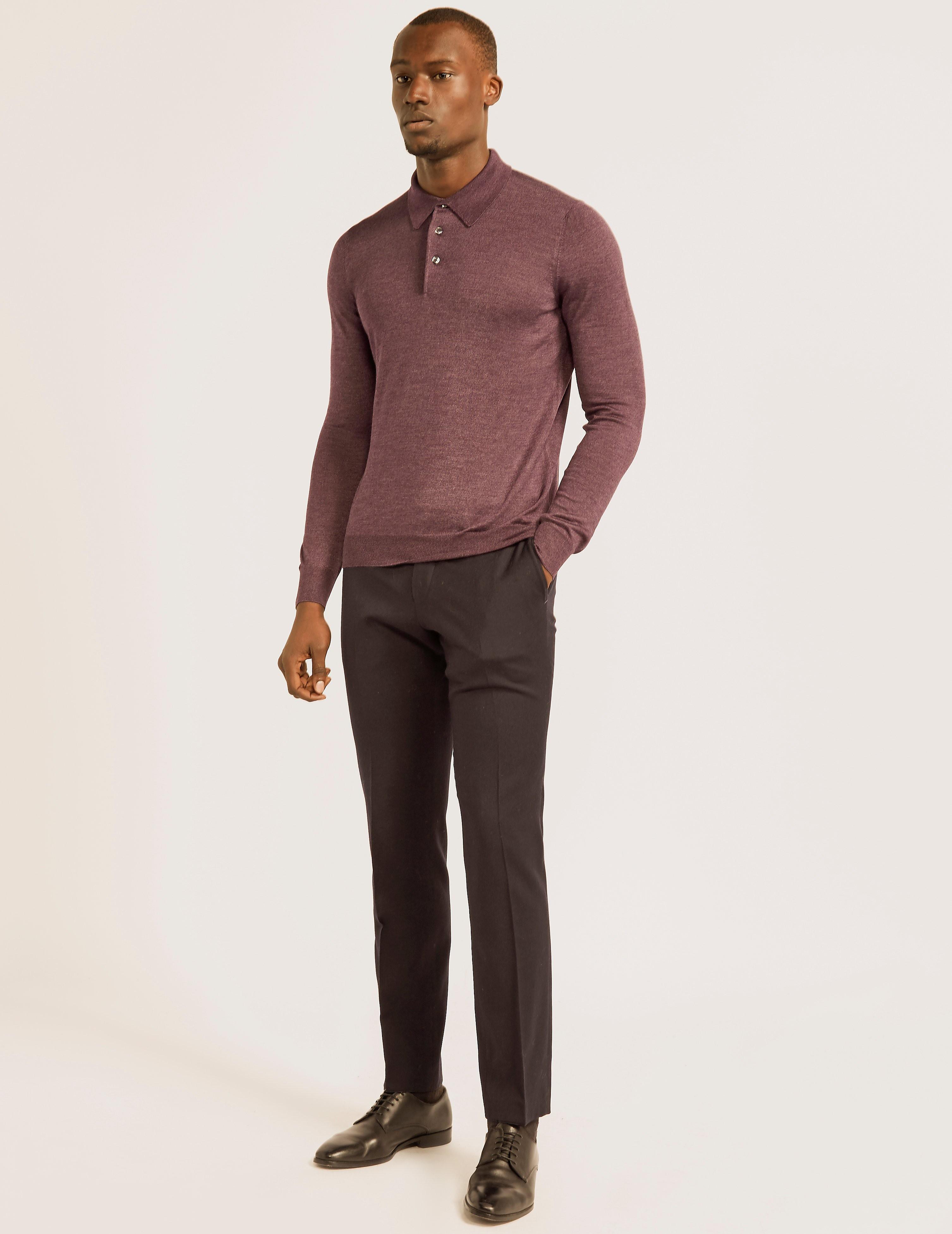Gran Sasso Wool Silk Long Sleeve Polo Shirt