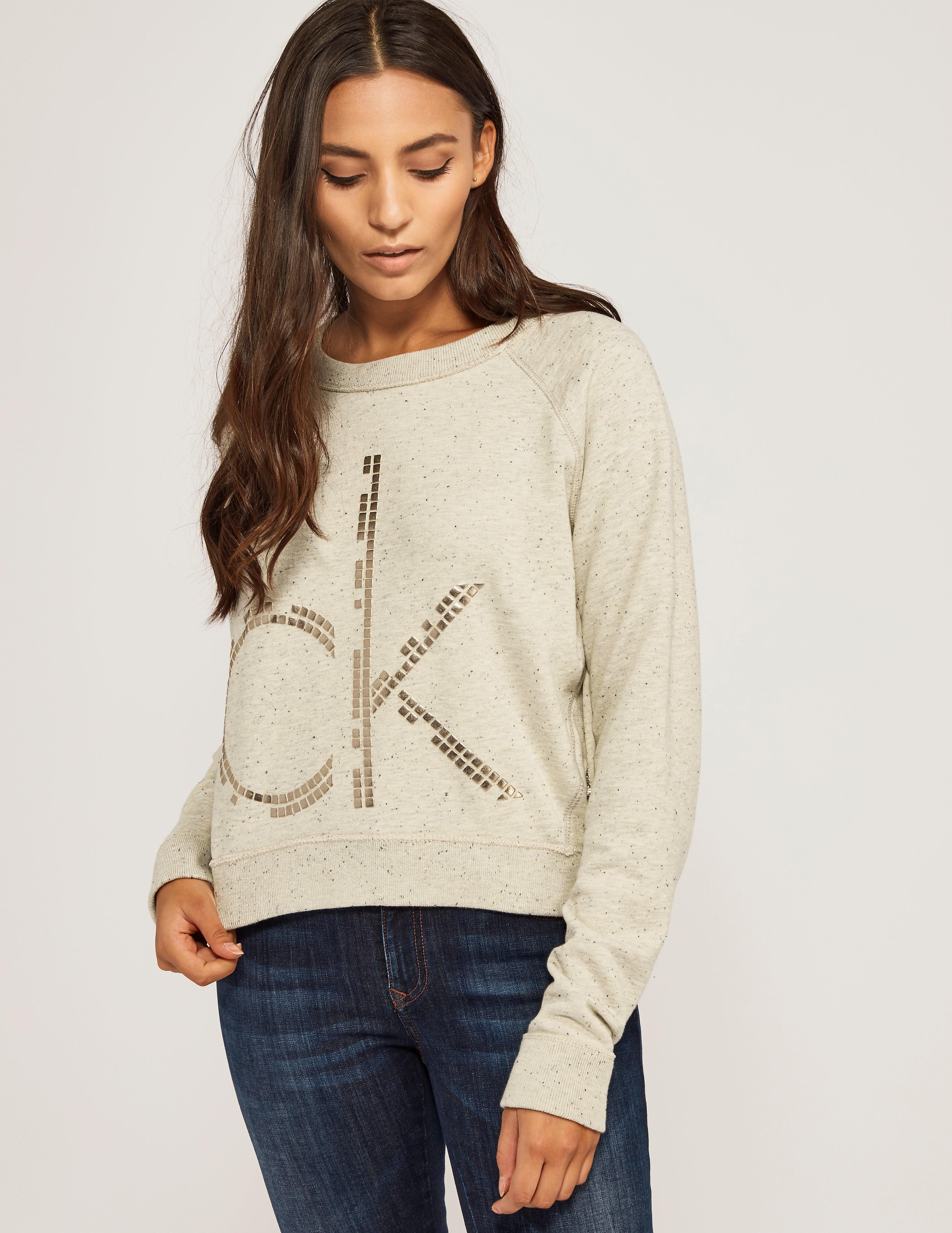 Calvin Klein Jesa Logo Stud Crew Sweatshirt
