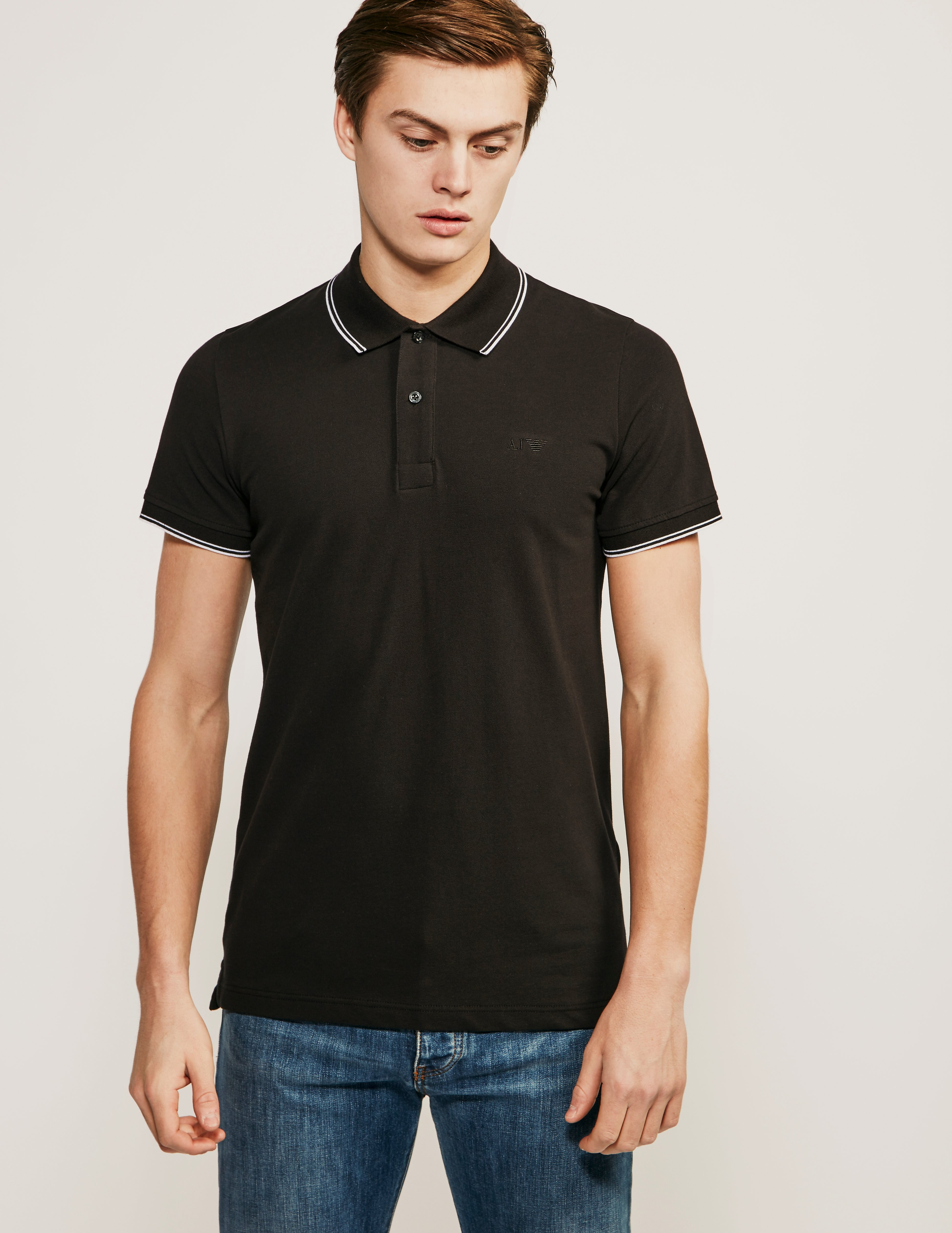 Armani Jeans Contrast Tipped Short Sleeve Polo Shirt