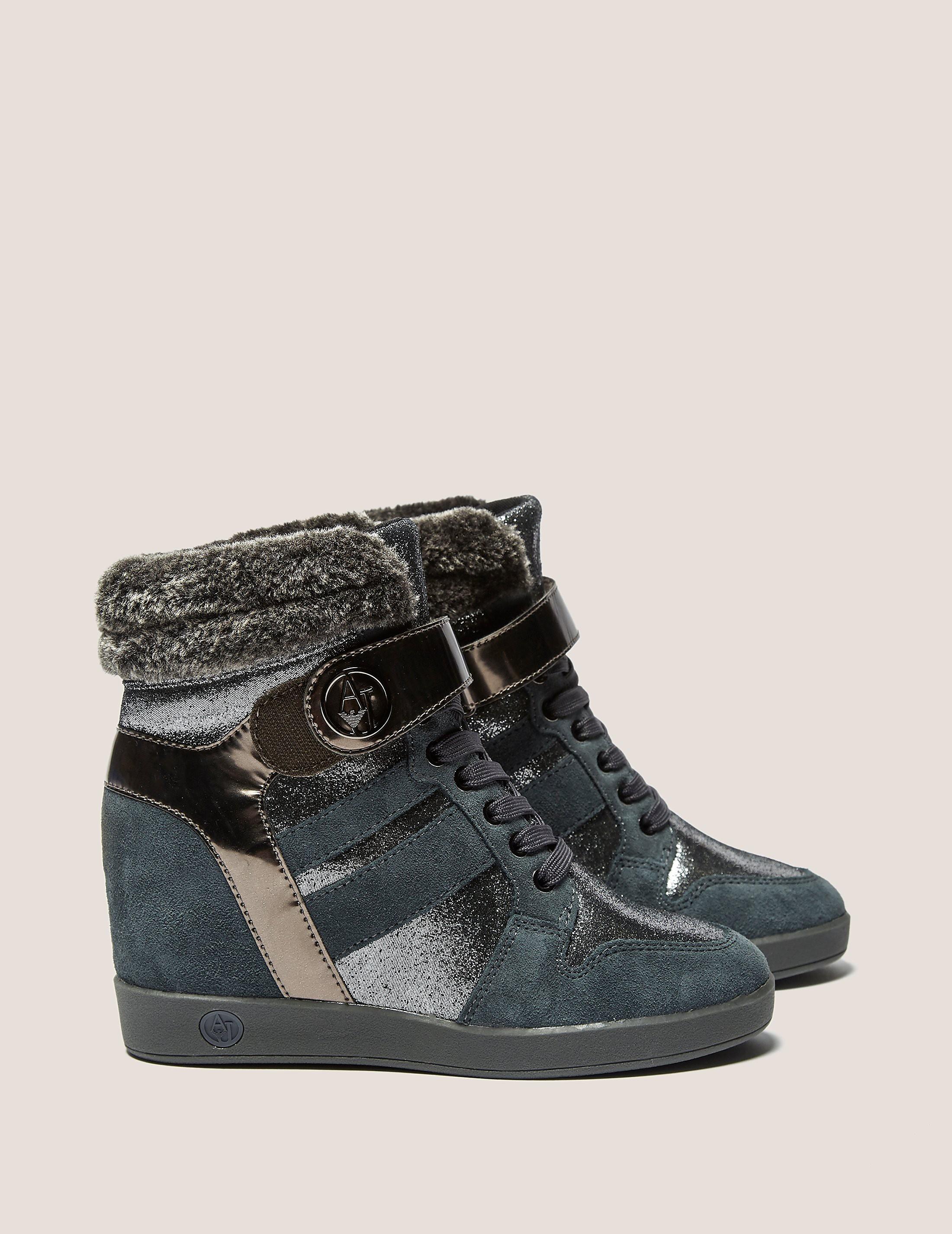 Armani Jeans High Top Faux Fur Shoe