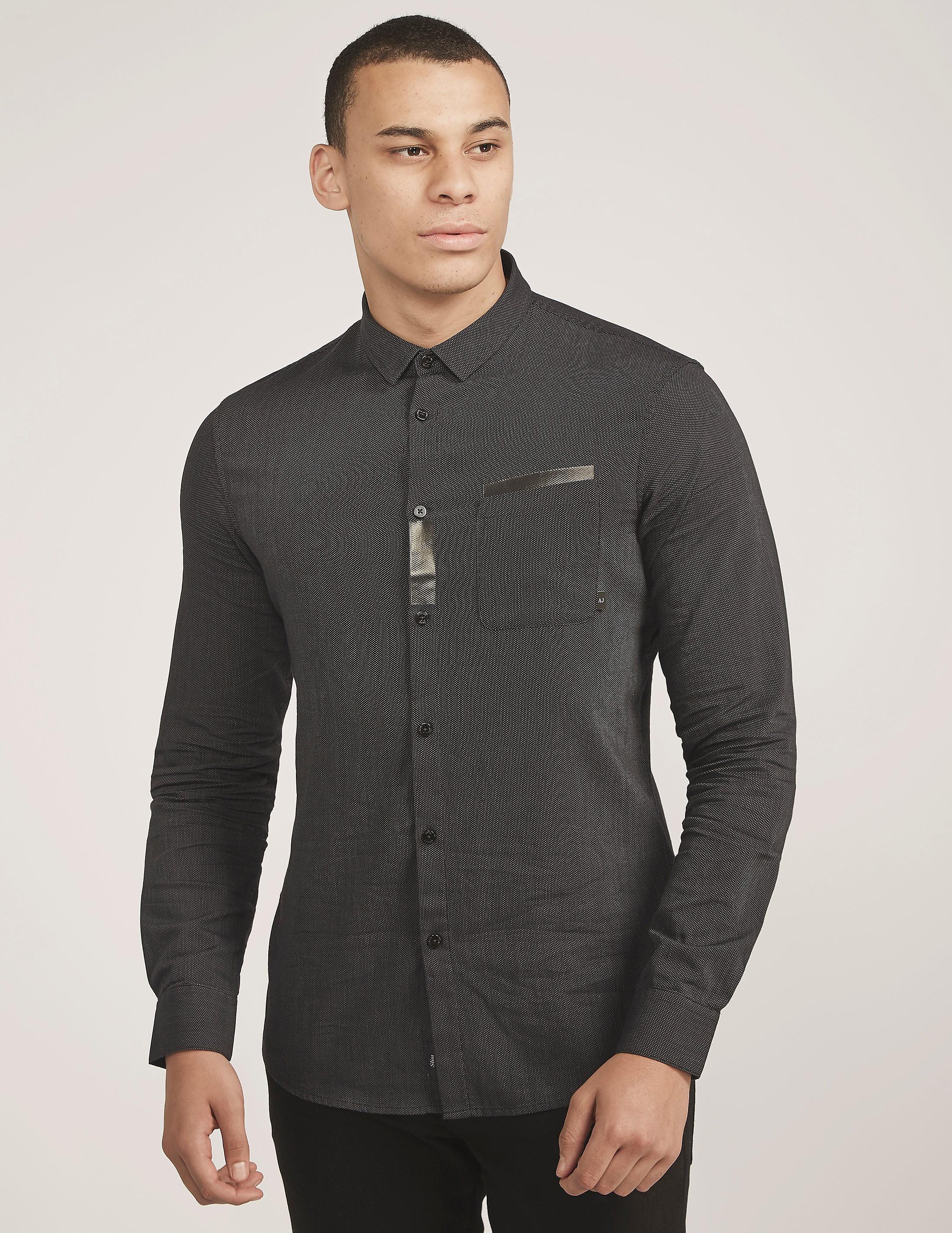Armani Jeans Tape Detail Long Sleeve Shirt