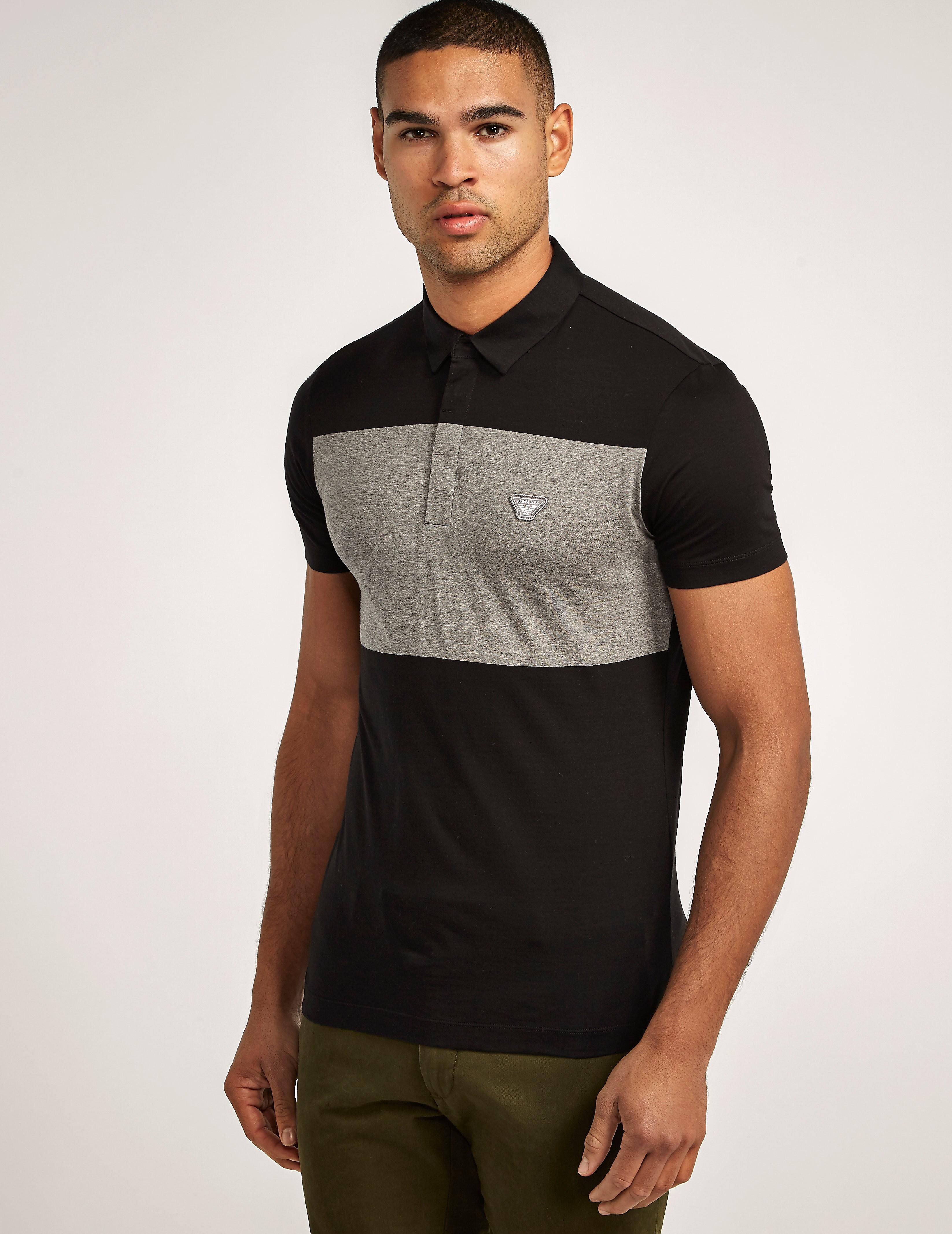 Armani Jeans Slim Fit Black Stripe Polo
