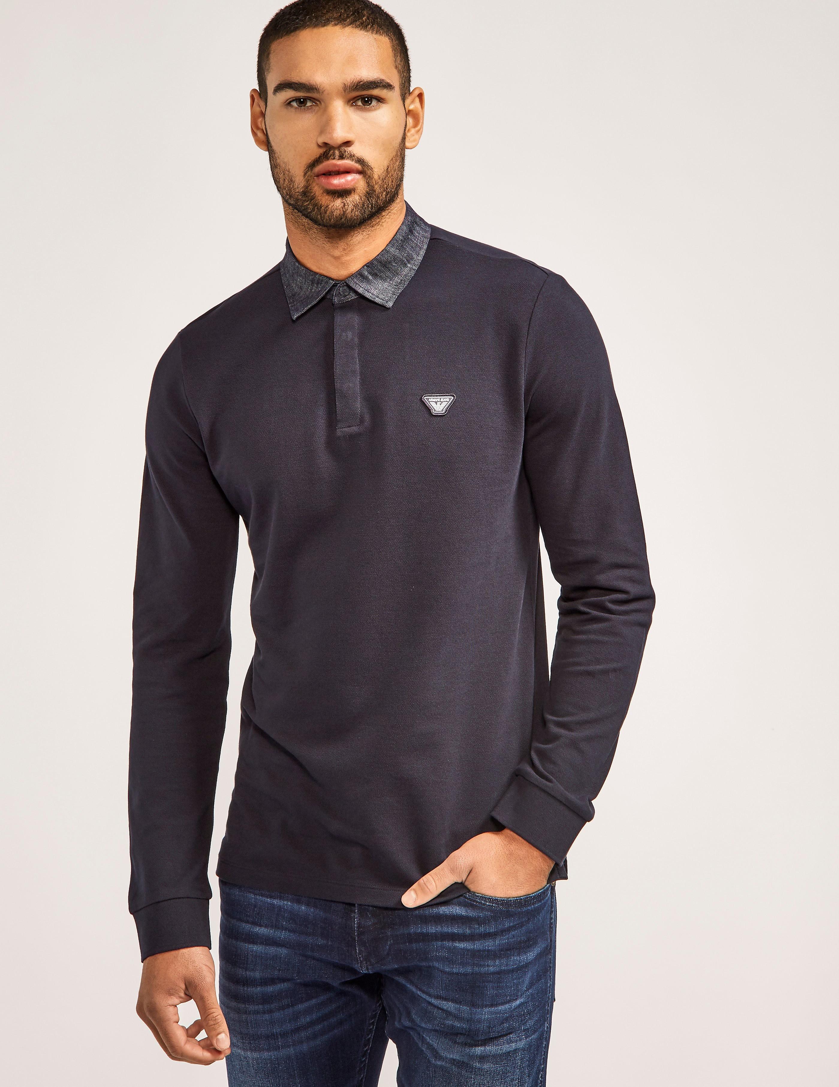 Armani Jeans Slim Fit Denim Long Sleeve Polo Shirt