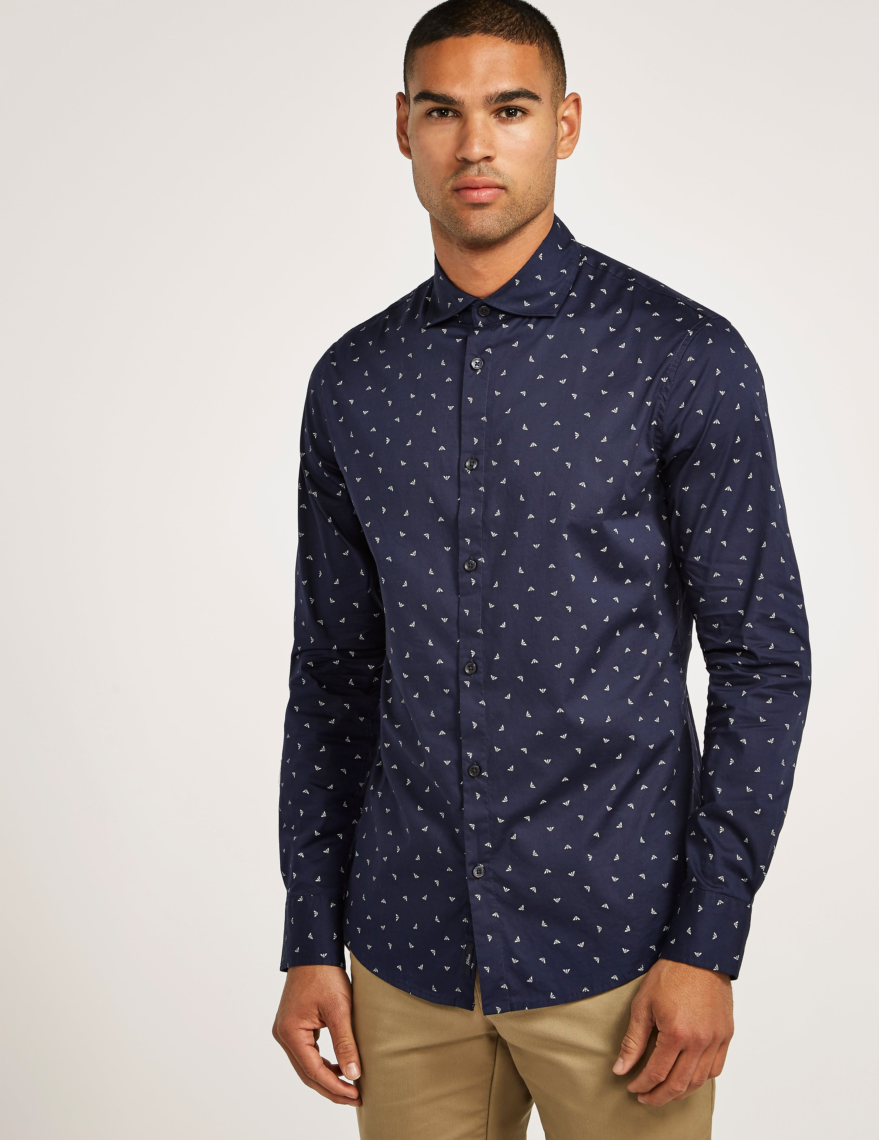 Armani Jeans Slim Fit Long Sleeve Eagle Shirt