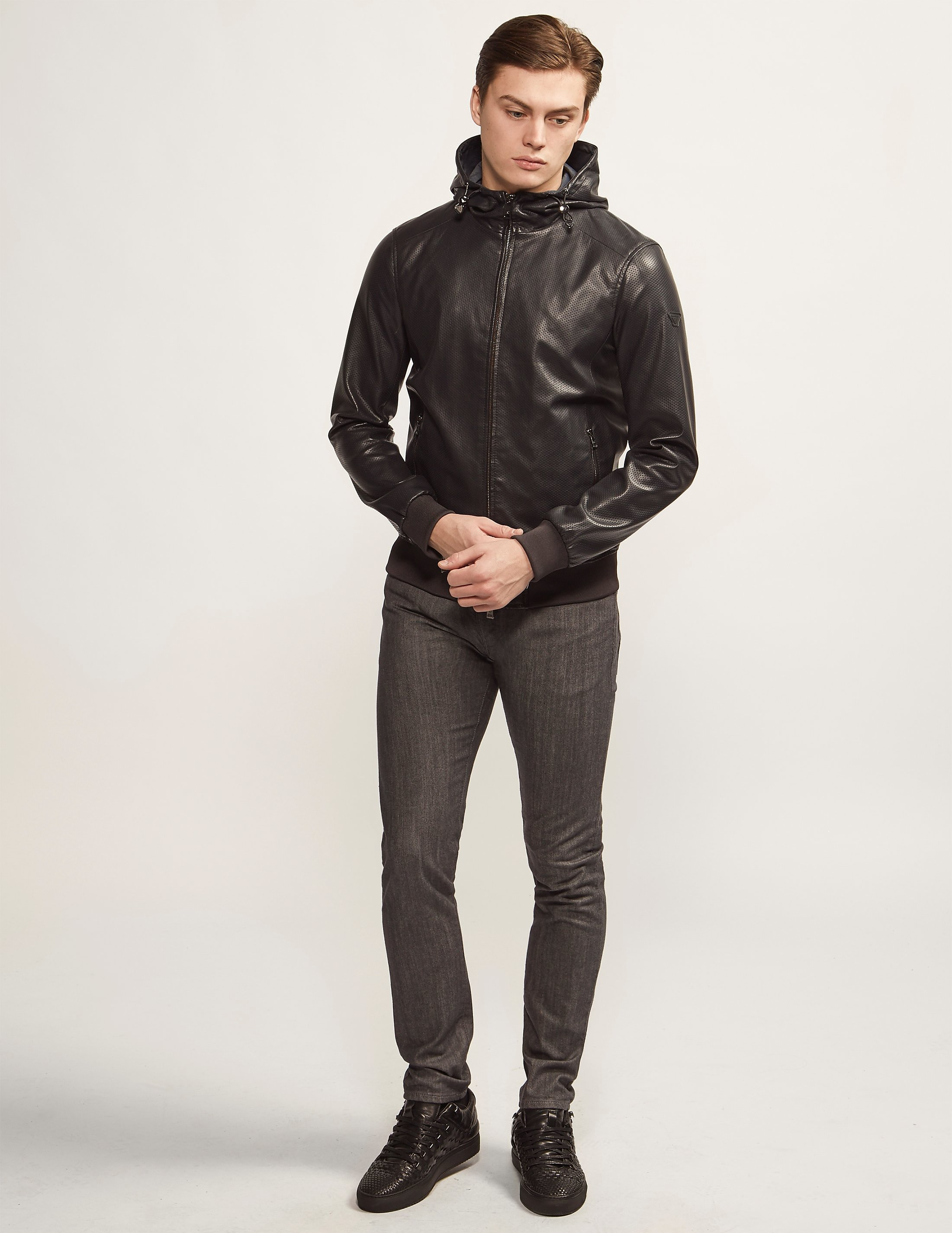 Armani Jeans Perforated Faux Leather Jacket