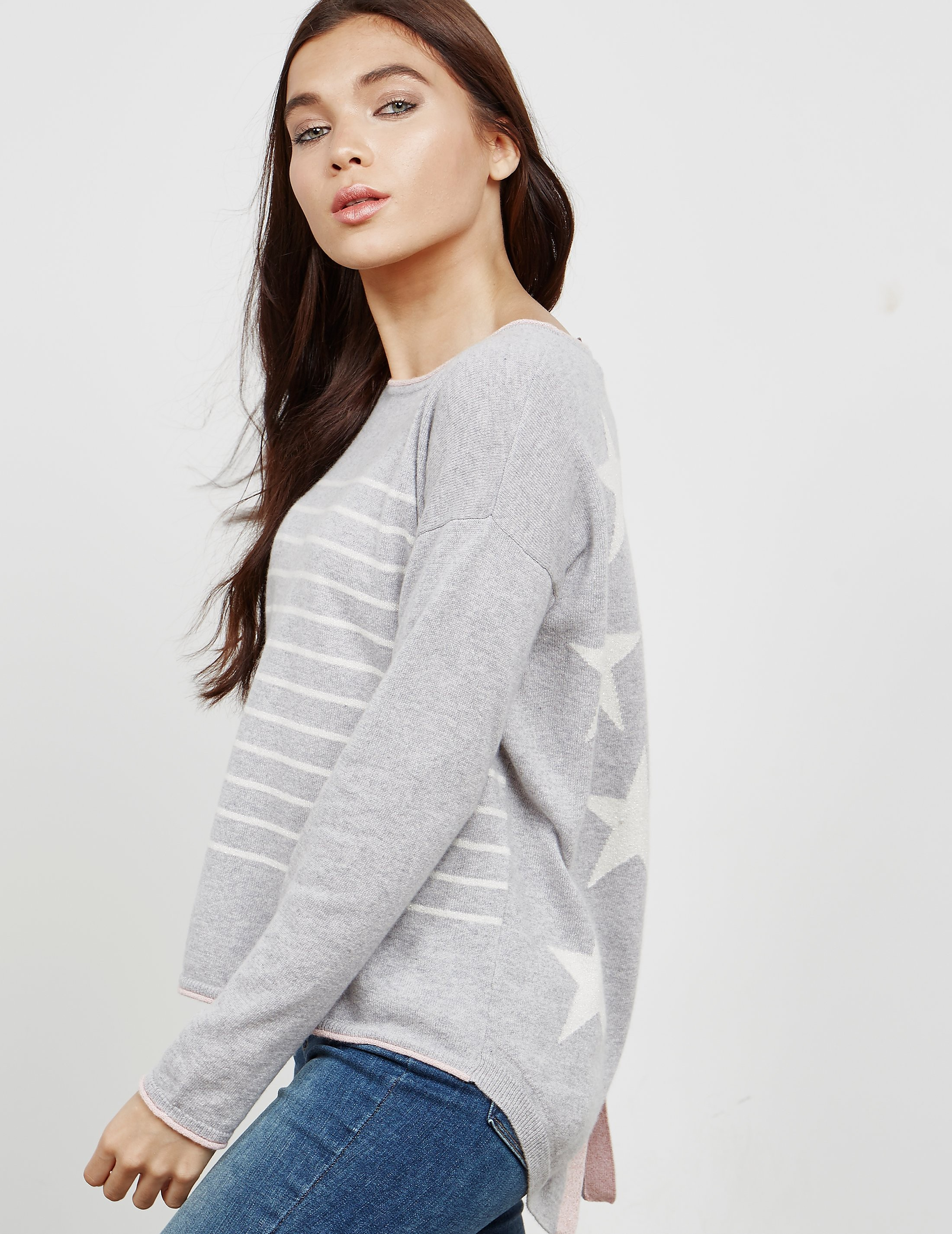 Cocoa Cashmere Star Button Knitted Jumper