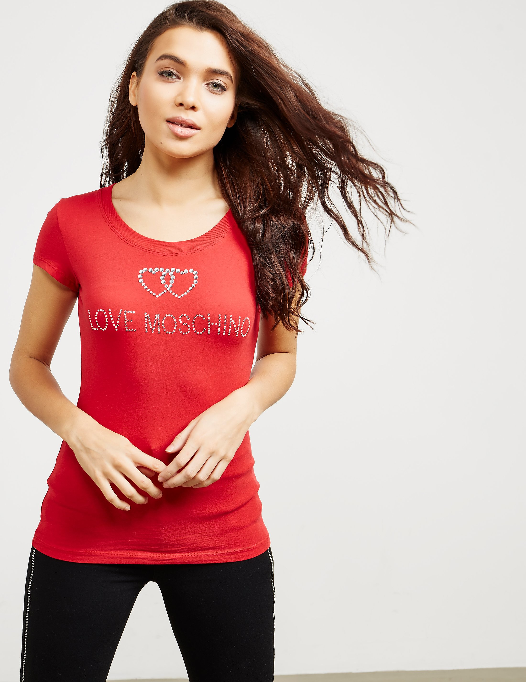 Love Moschino Diamonte Heart Short Sleeve T-Shirt