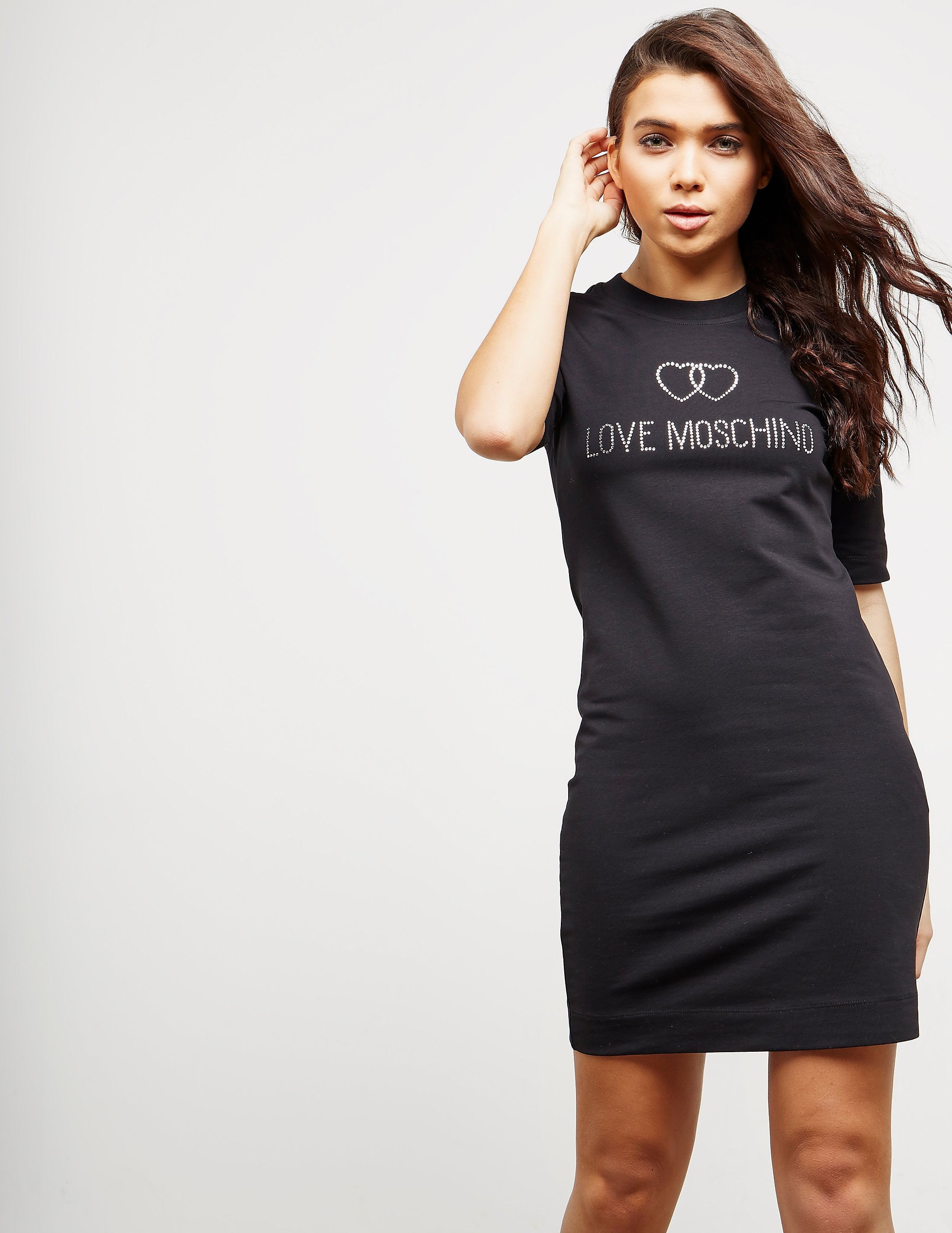 Love Moschino Diamonte Short Sleeve Sweater Dress
