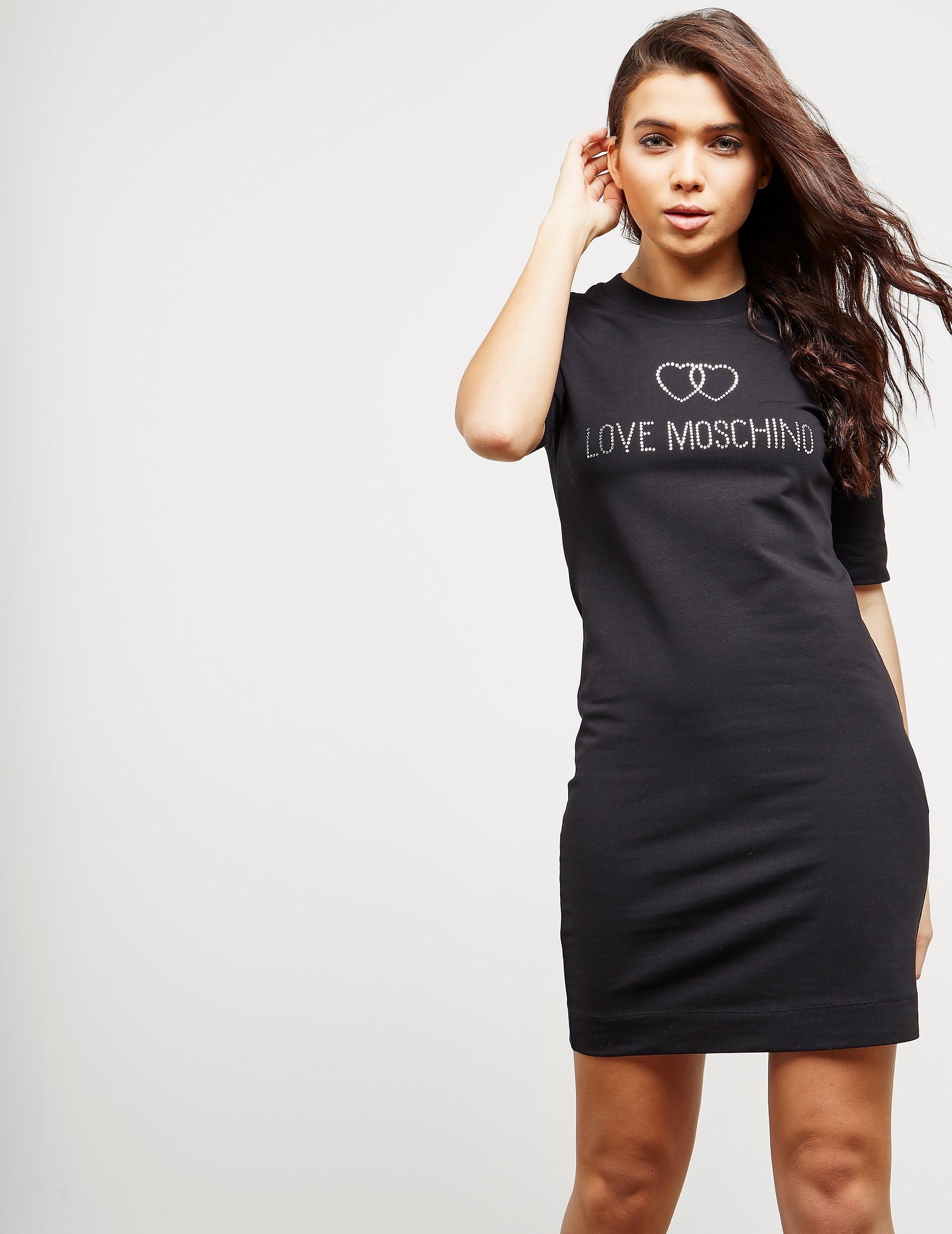 Love Moschino Diamonte Short Sleeve Sweater Dress