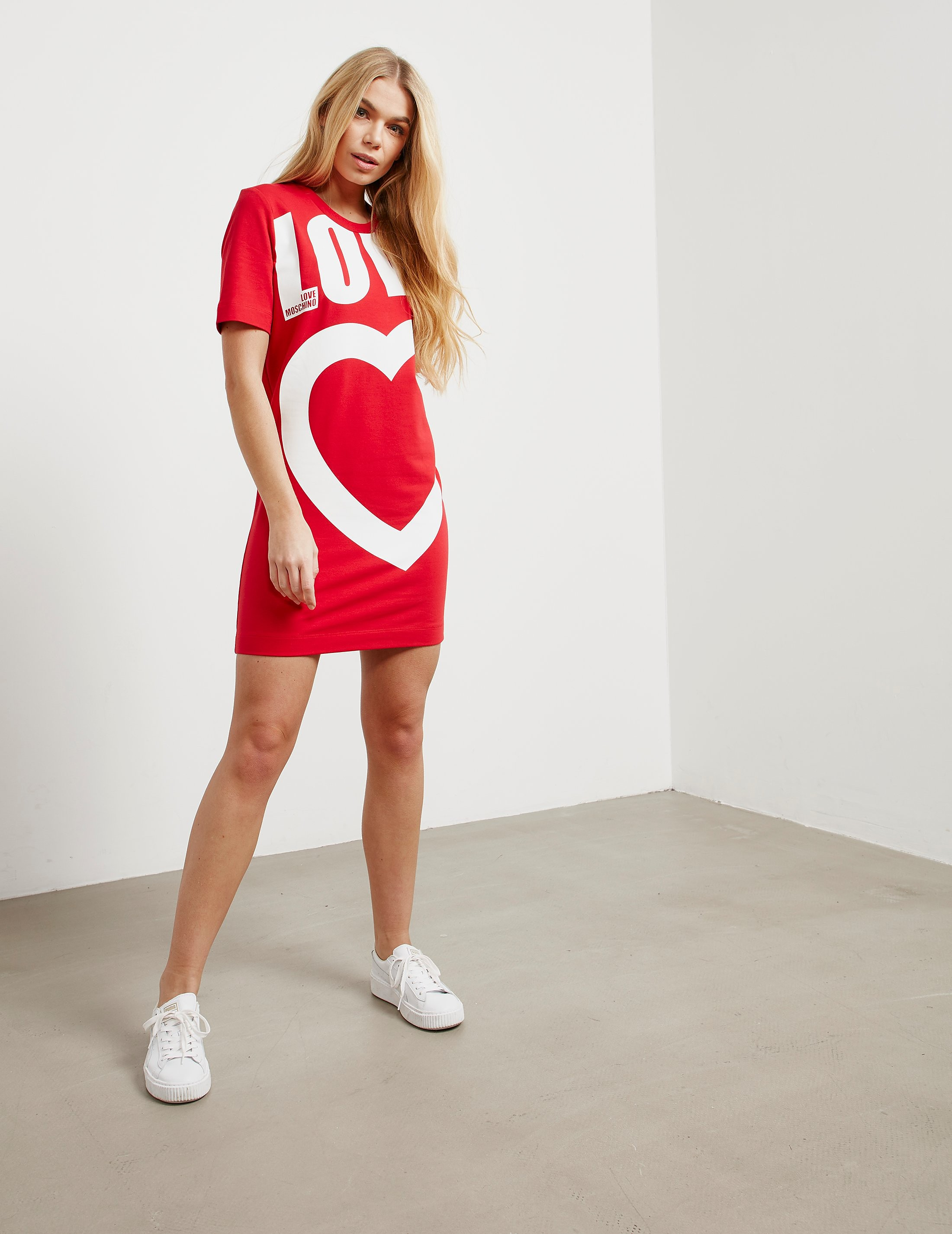 Love Moschino Logo Short Sleeve Sweater Dress