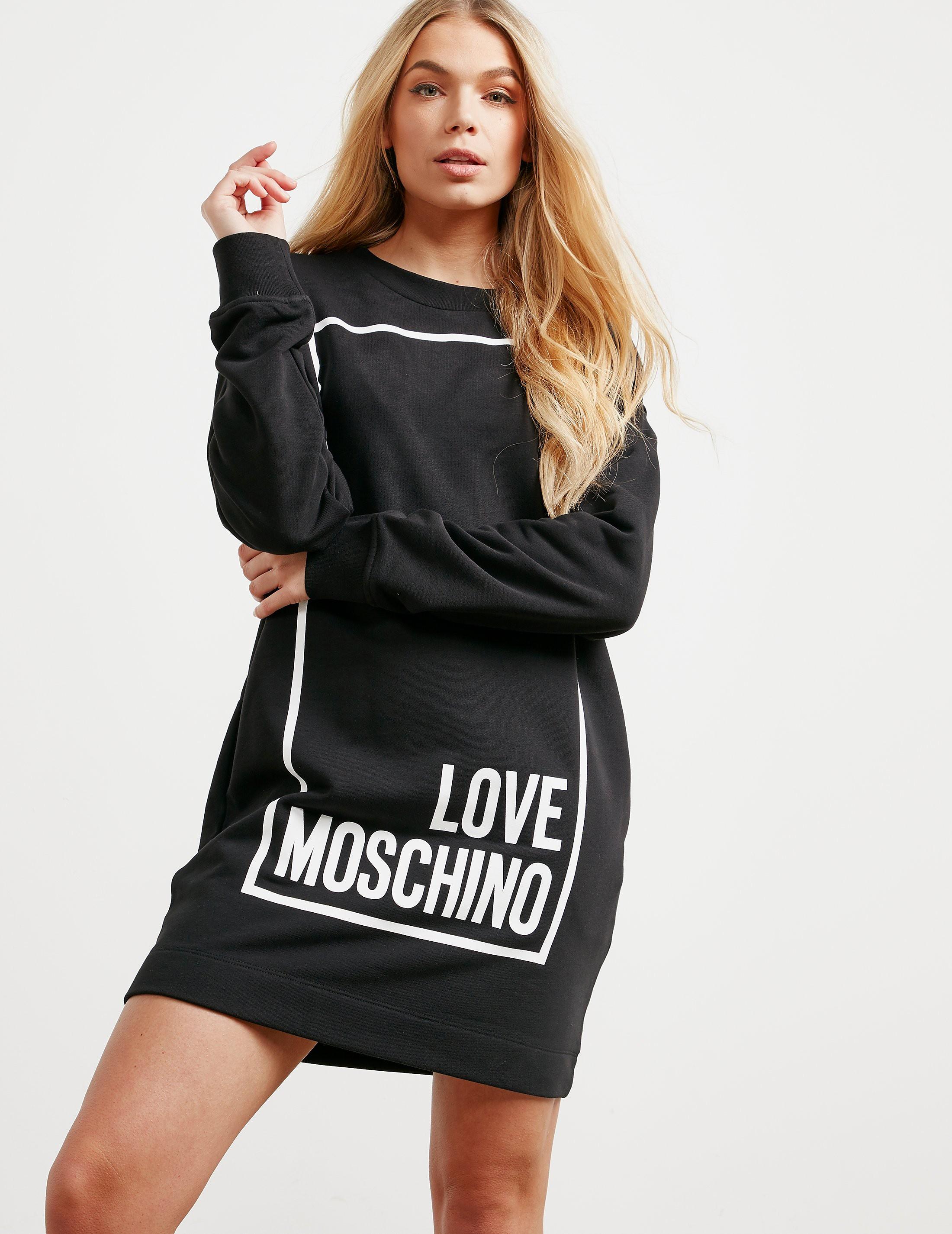 Love Moschino Sqaure Long Sleeve Sweater Dress