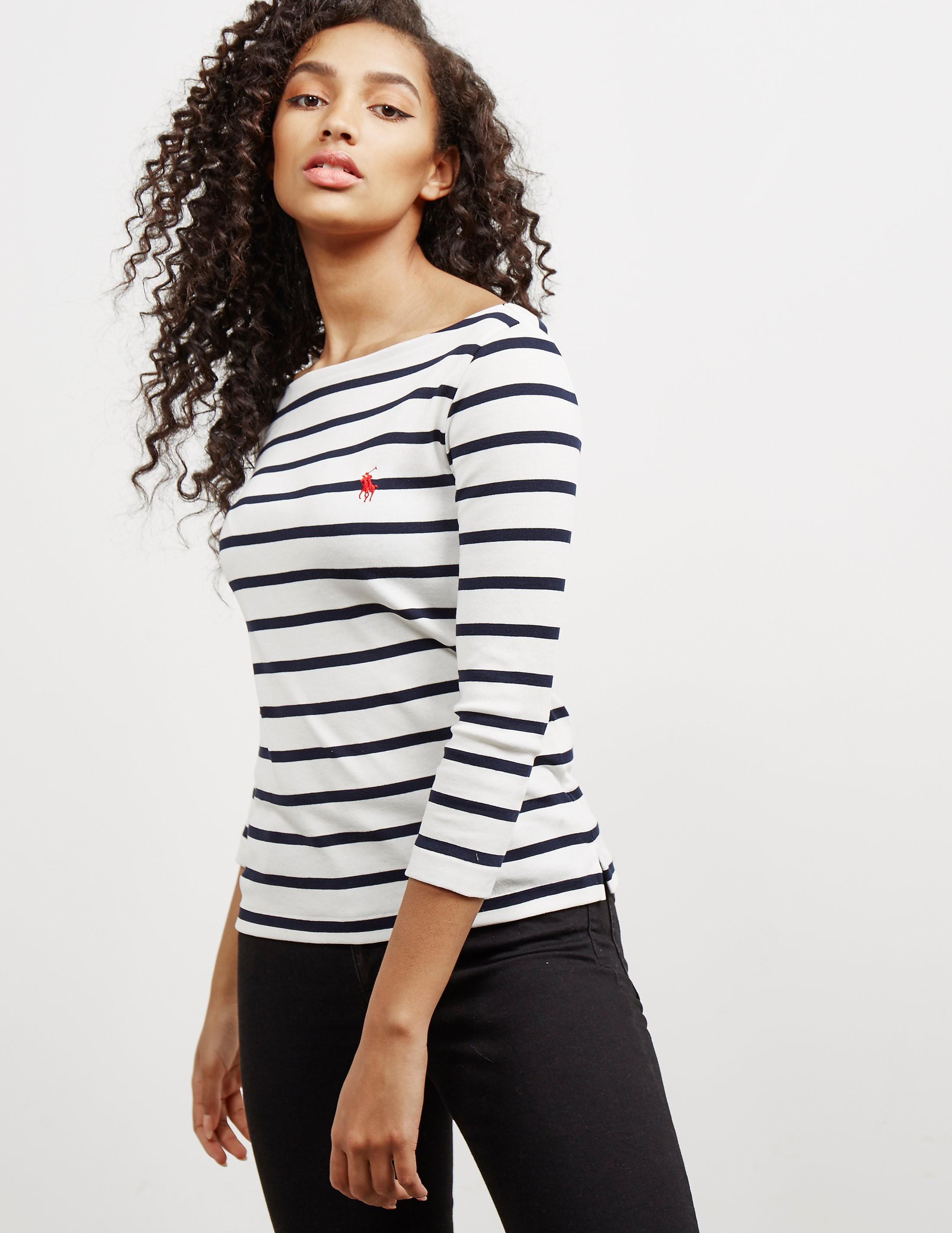 Polo Ralph Lauren Stripe Three Quarter Sleeve T-Shirt