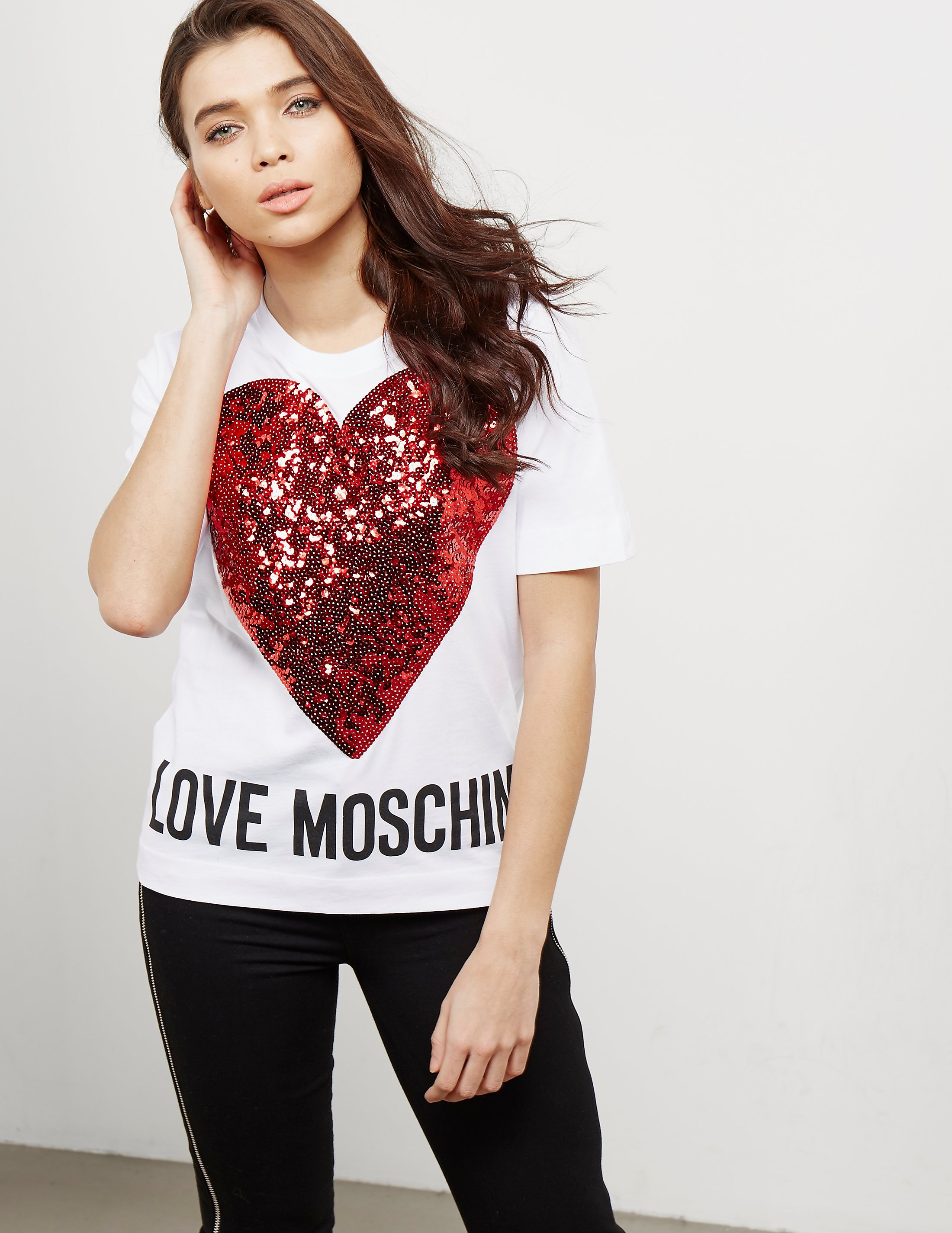 Love Moschino Sequin Heart Short Sleeve T-Shirt