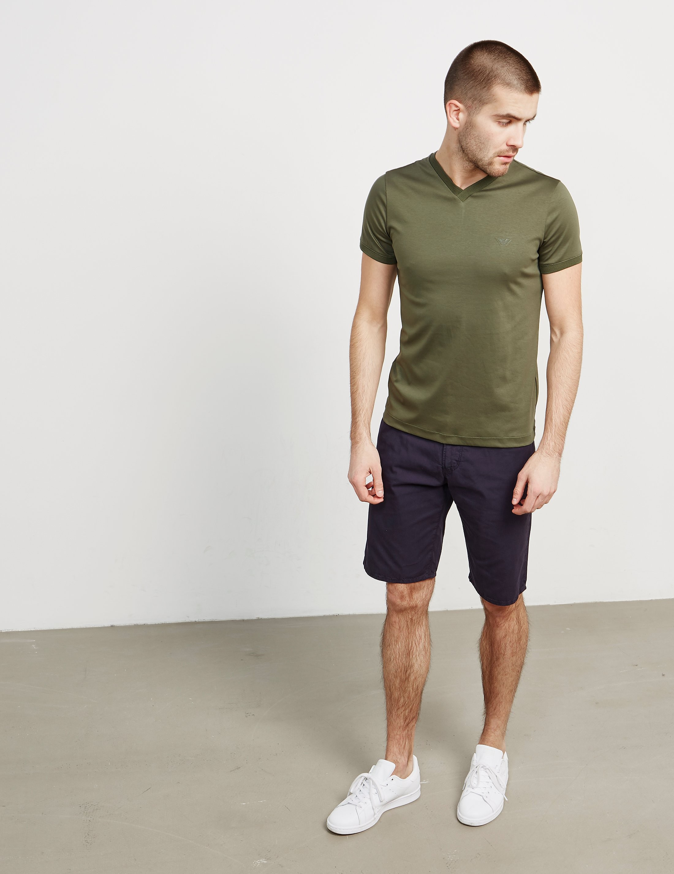 Emporio Armani Interlock V-Neck Short Sleeve T-Shirt