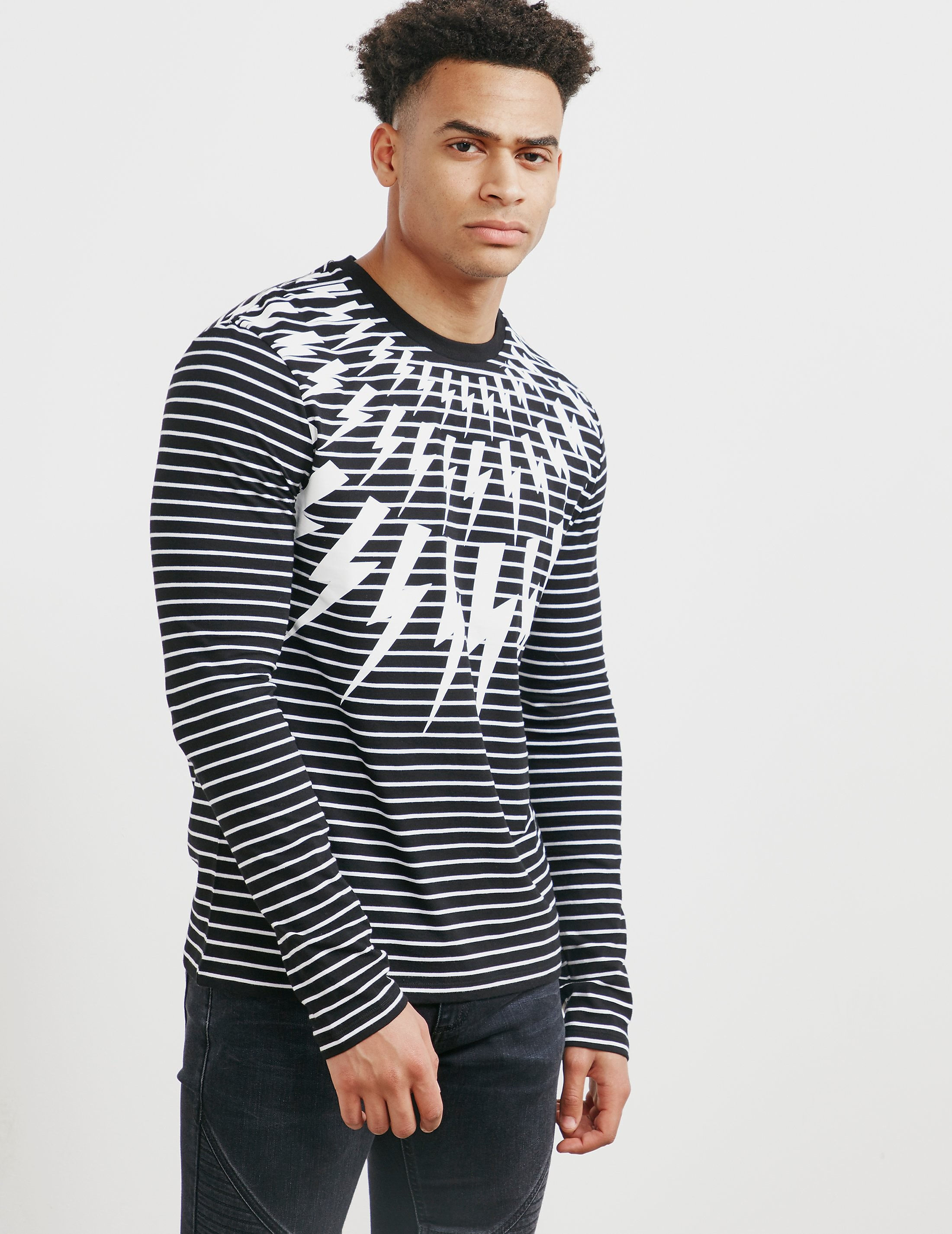 Neil Barrett Bolt Stripe Long Sleeve T-Shirt