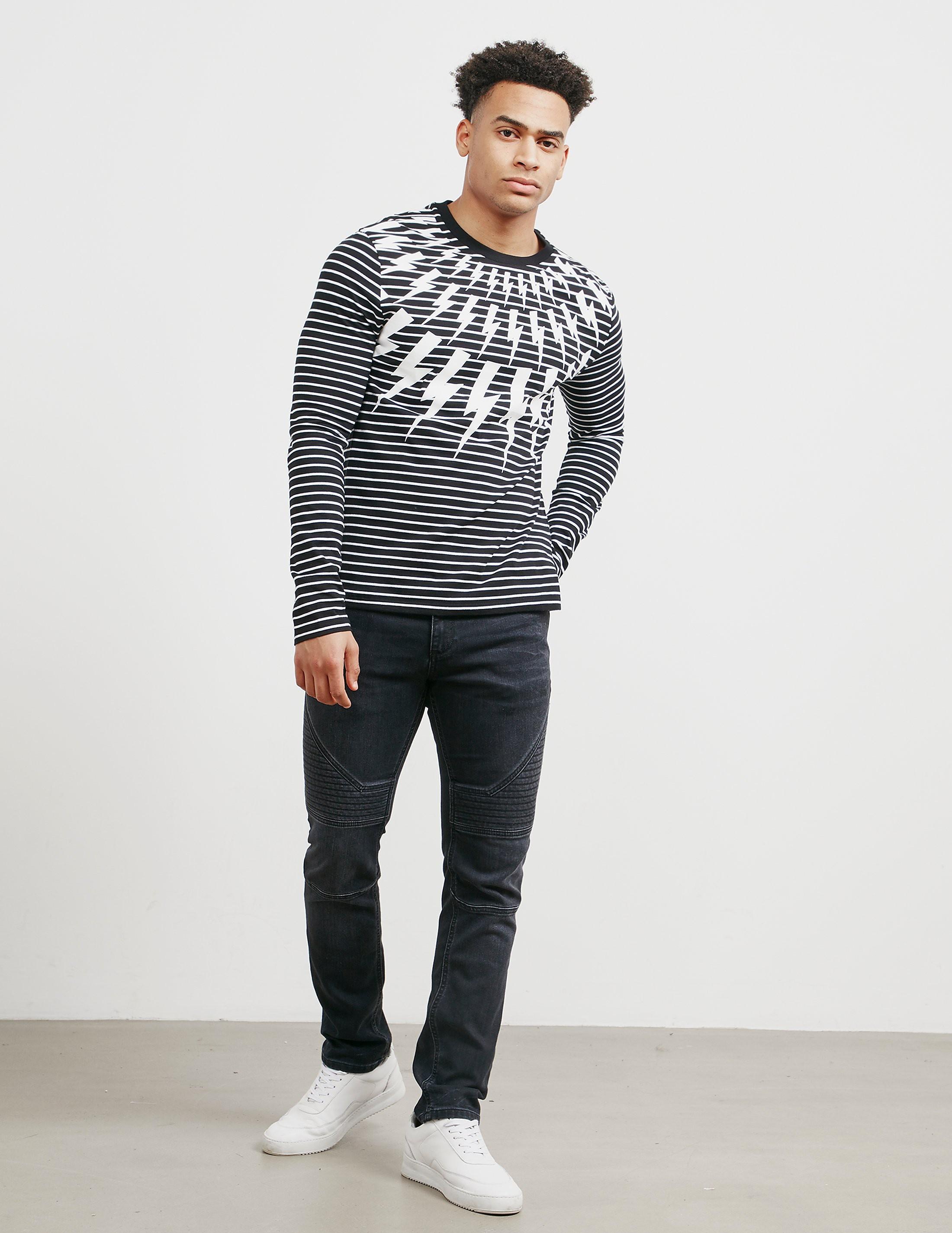 Neil Barrett Bolt Stripe Long Sleeve T-Shirt