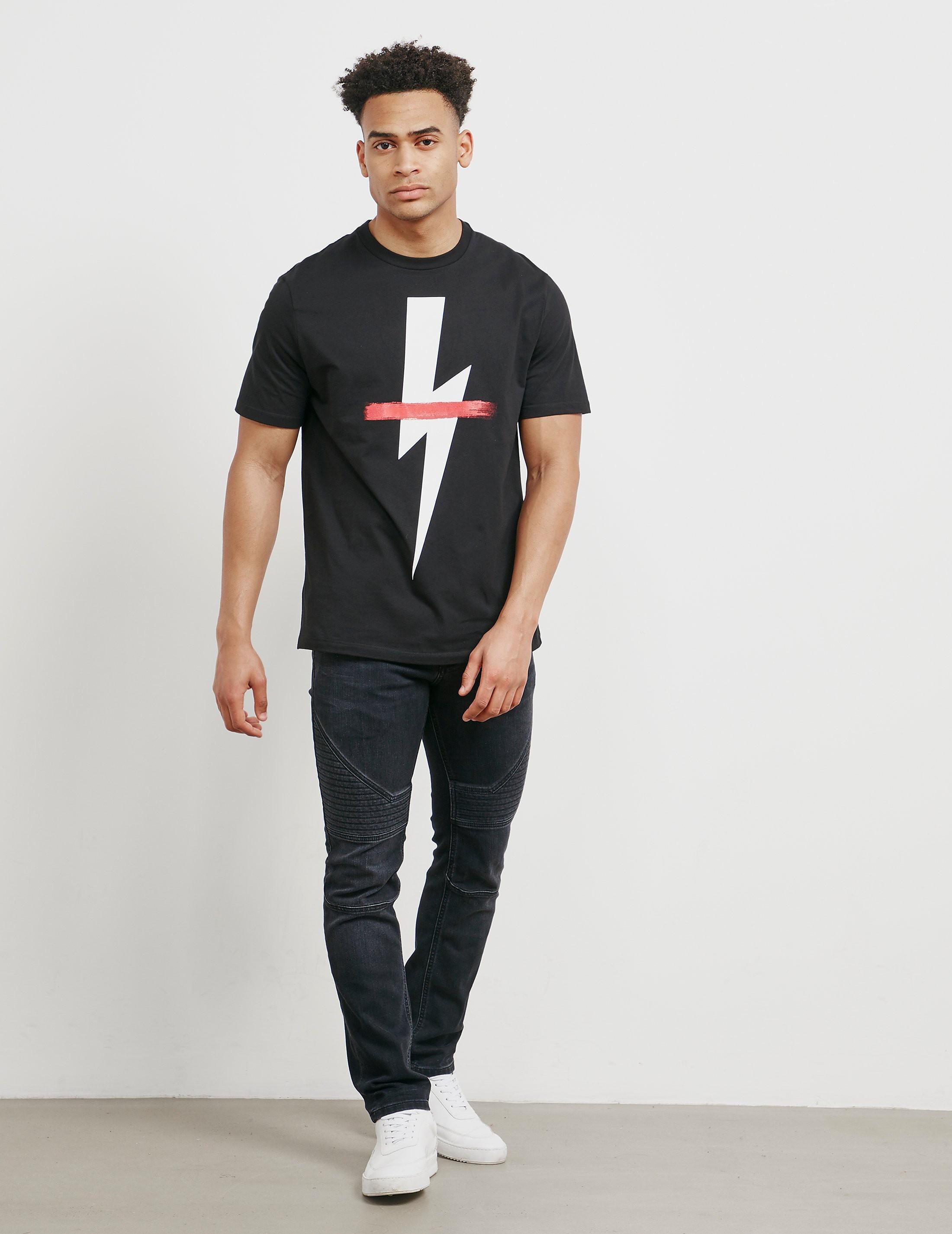 Neil Barrett Bolt Cross Short Sleeve T-Shirt