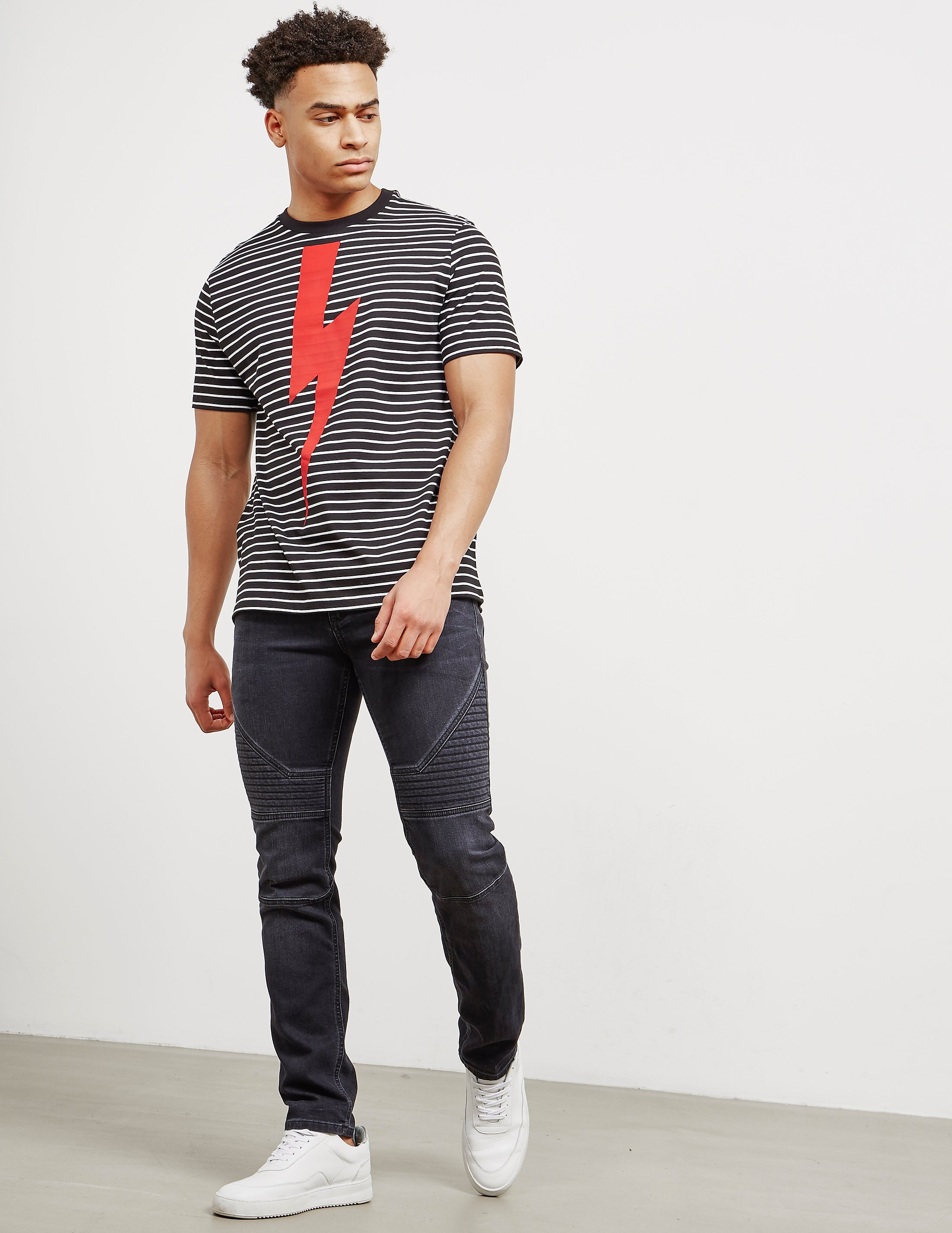 Neil Barrett Bolt Stripe Short Sleeve T-Shirt