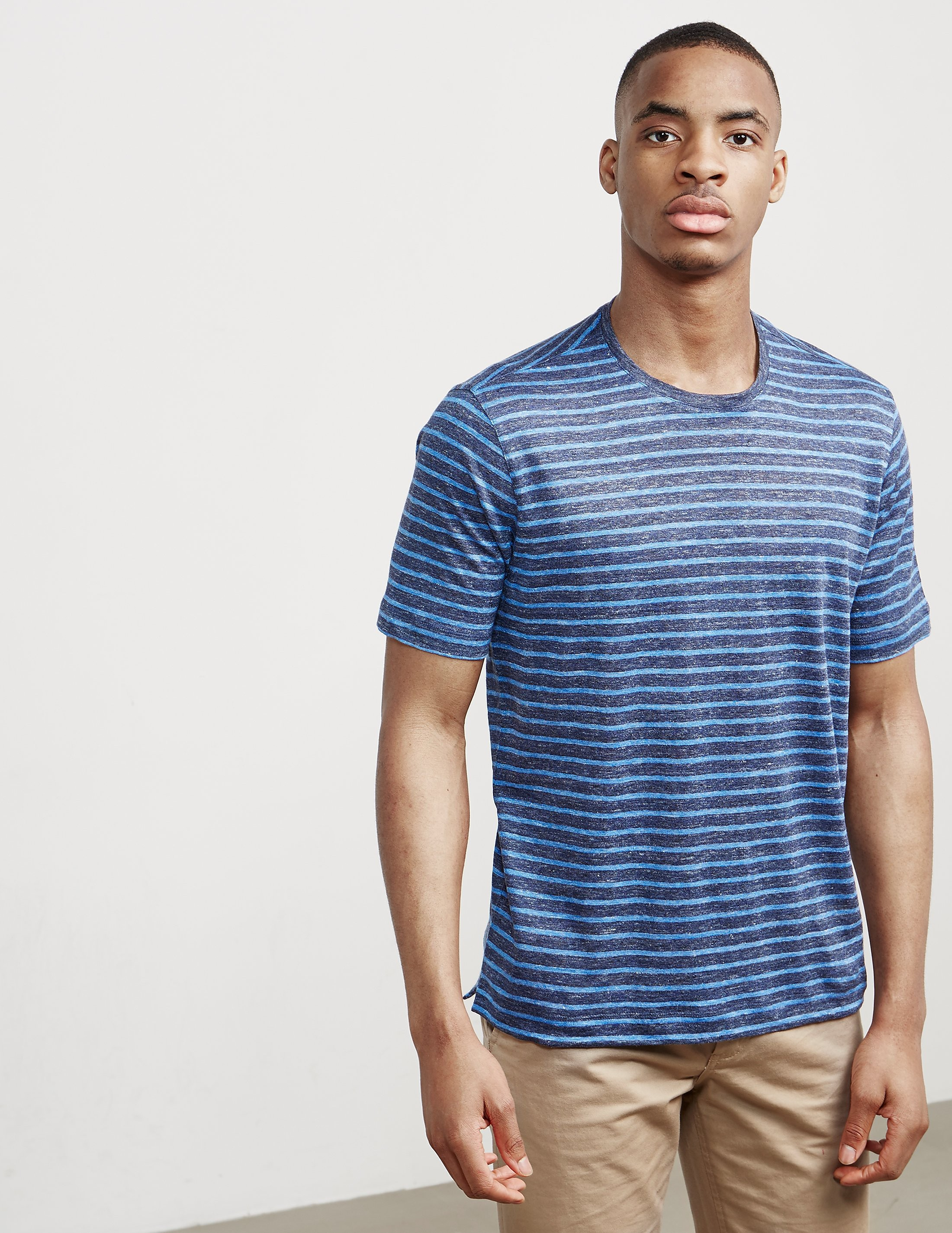 Z Zegna Linen Stripe Short Sleeve T-Shirt
