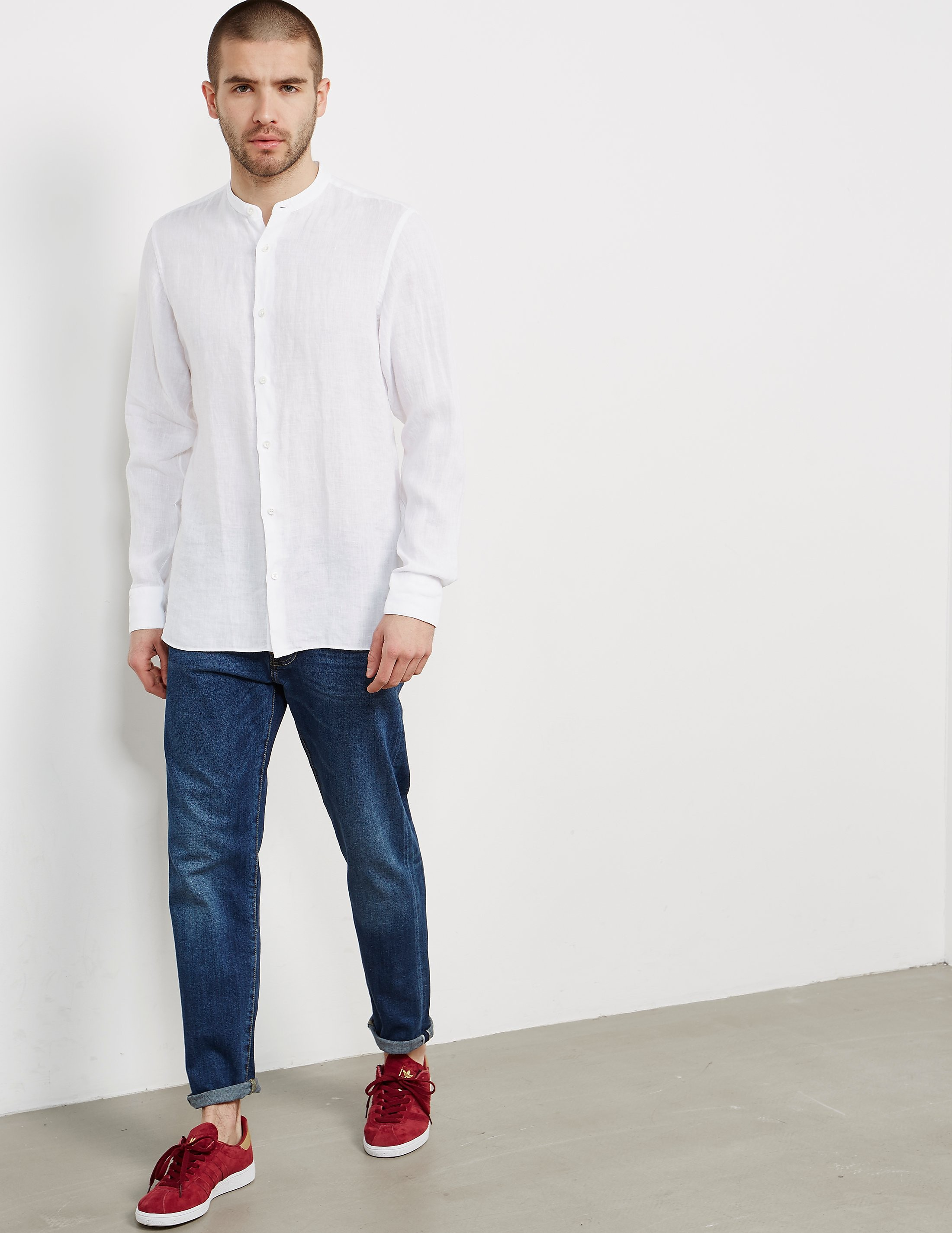 Z Zegna Guru Collar Long Sleeve Shirt