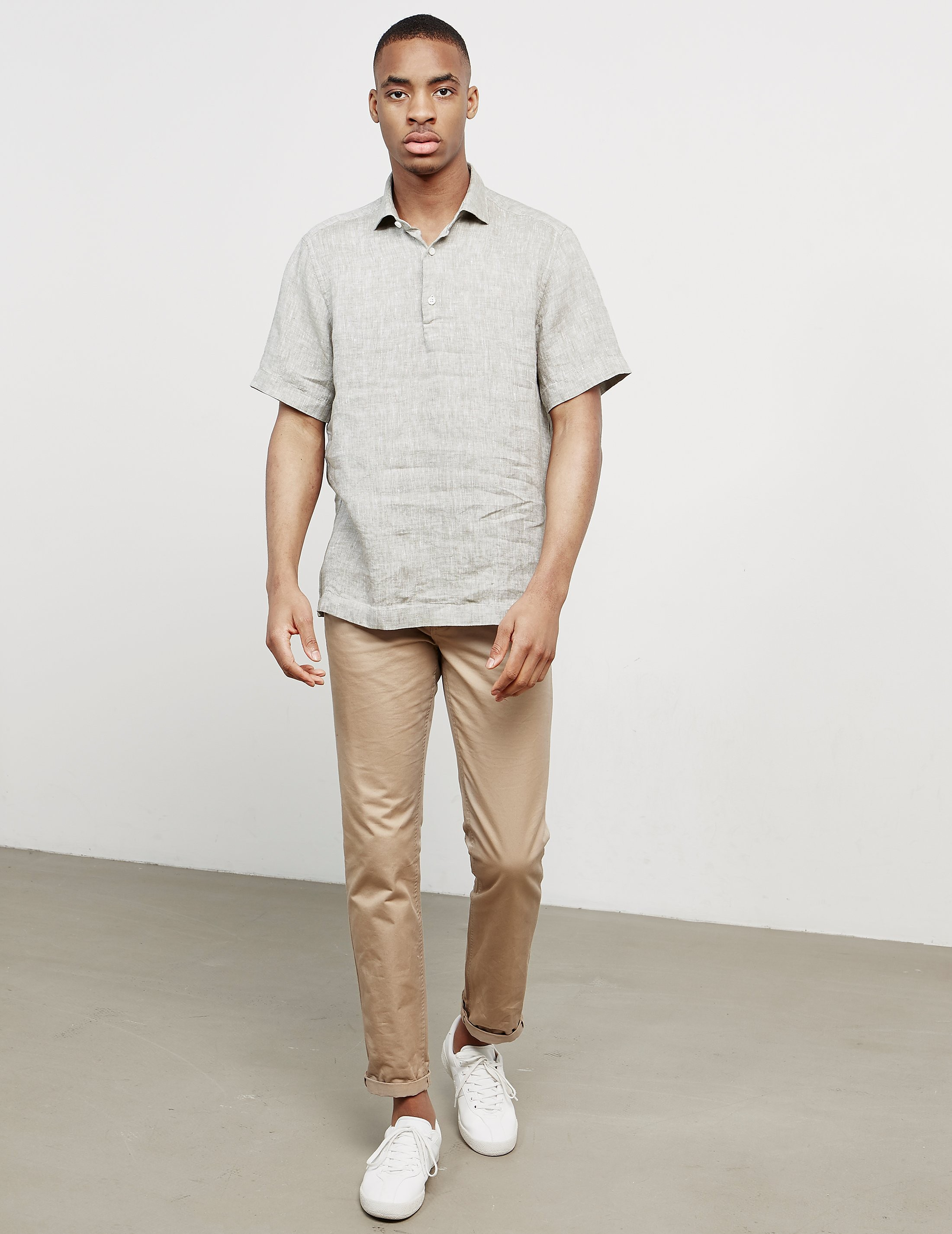 Z Zegna Linen Short Sleeve Polo Shirt
