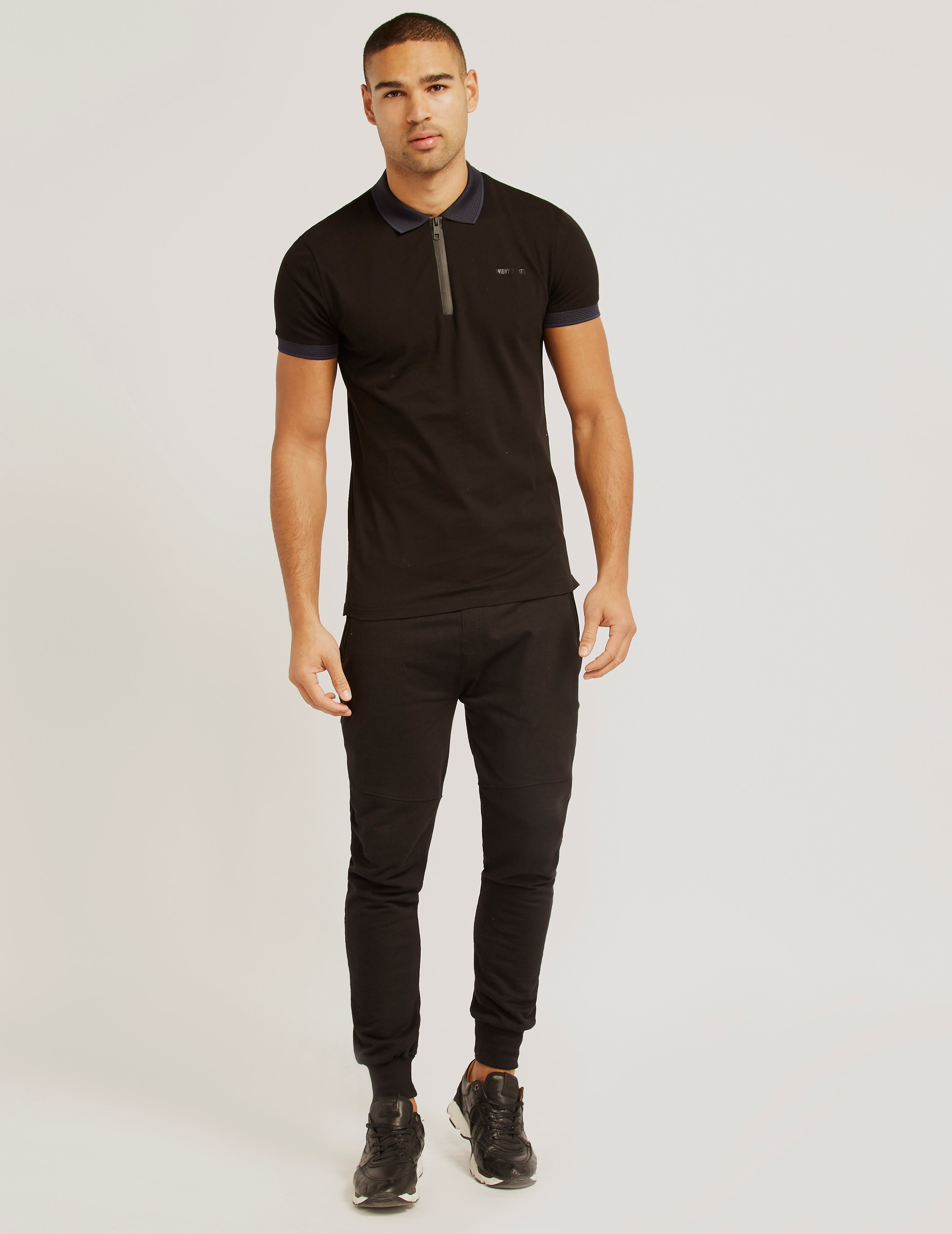 Antony Morato Silver Zip Pique Polo Shirt