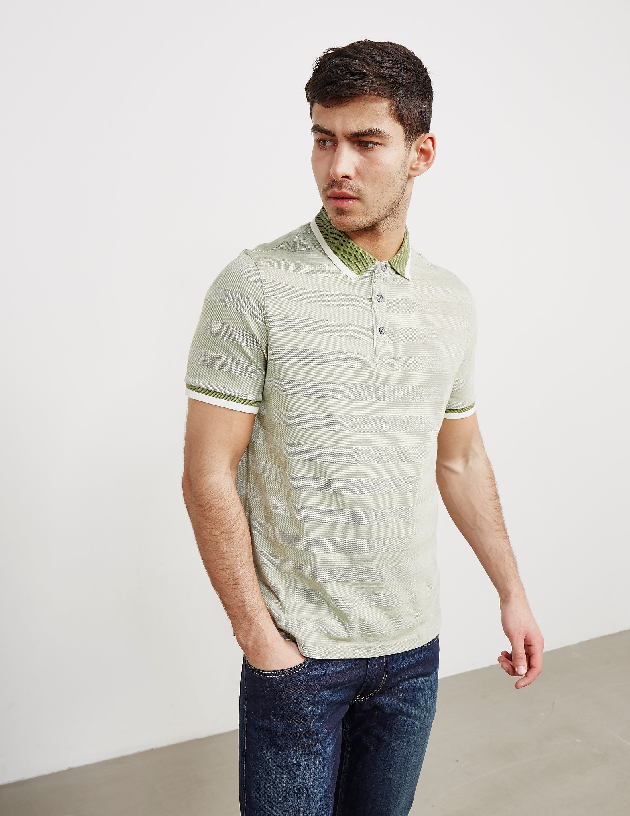 Michael Kors Knitted Stripe Short Sleeve Polo Shirt