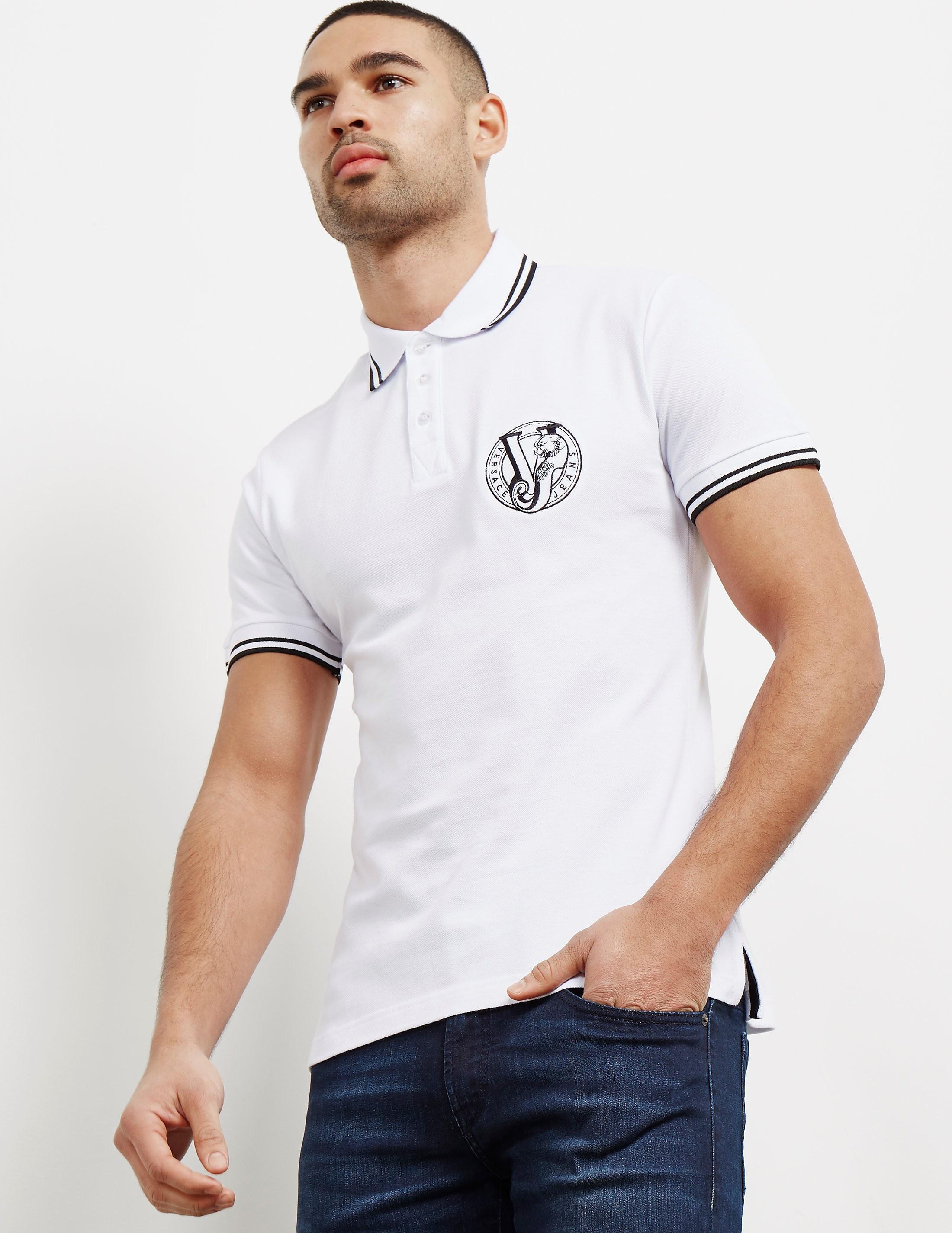 Versace Tipped Logo Short Sleeve Polo Shirt