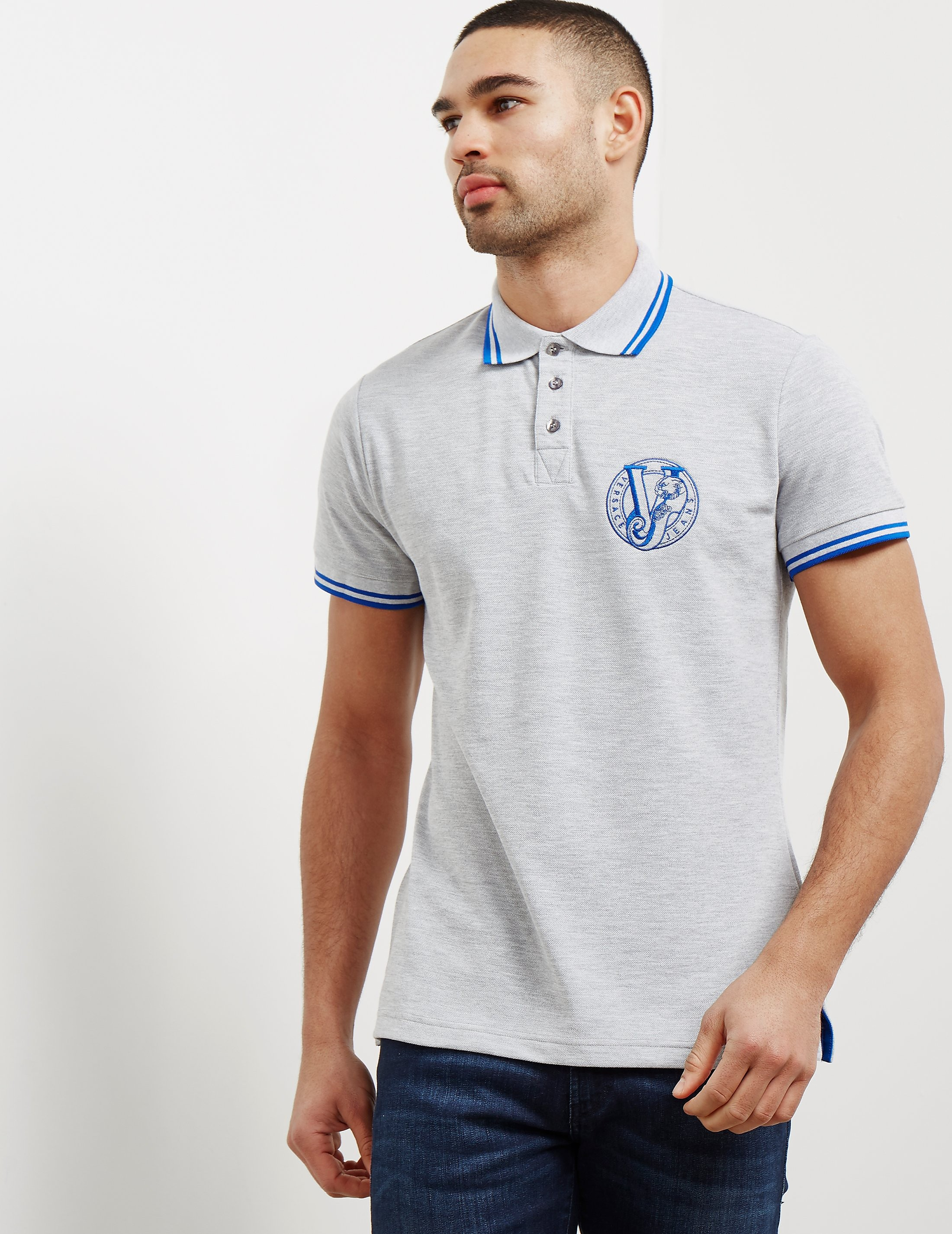 Versace Tipped Logo Short Sleeve Polo Shirt