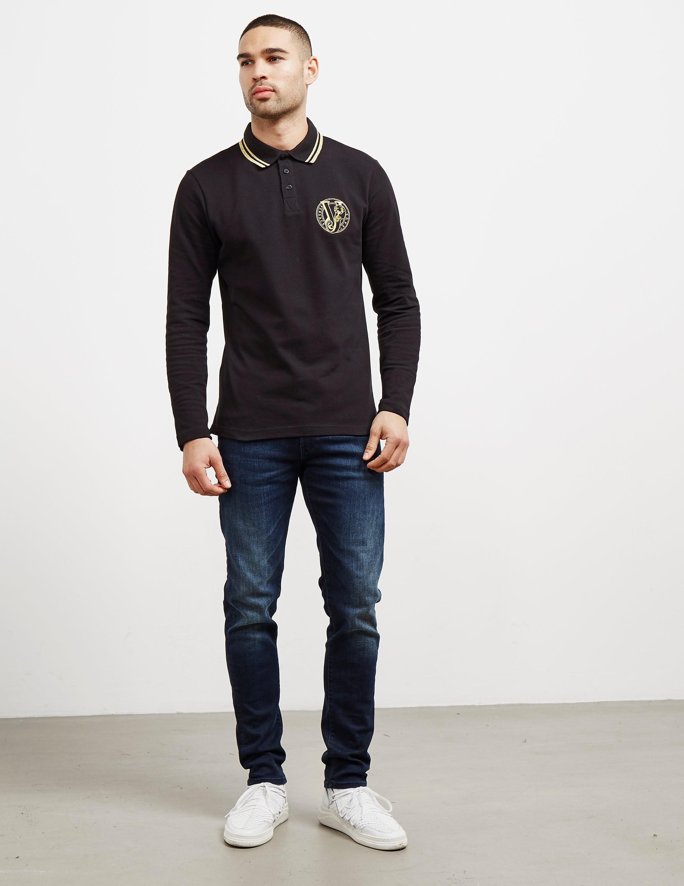 Versace Tipped Logo Long Sleeve Polo Shirt