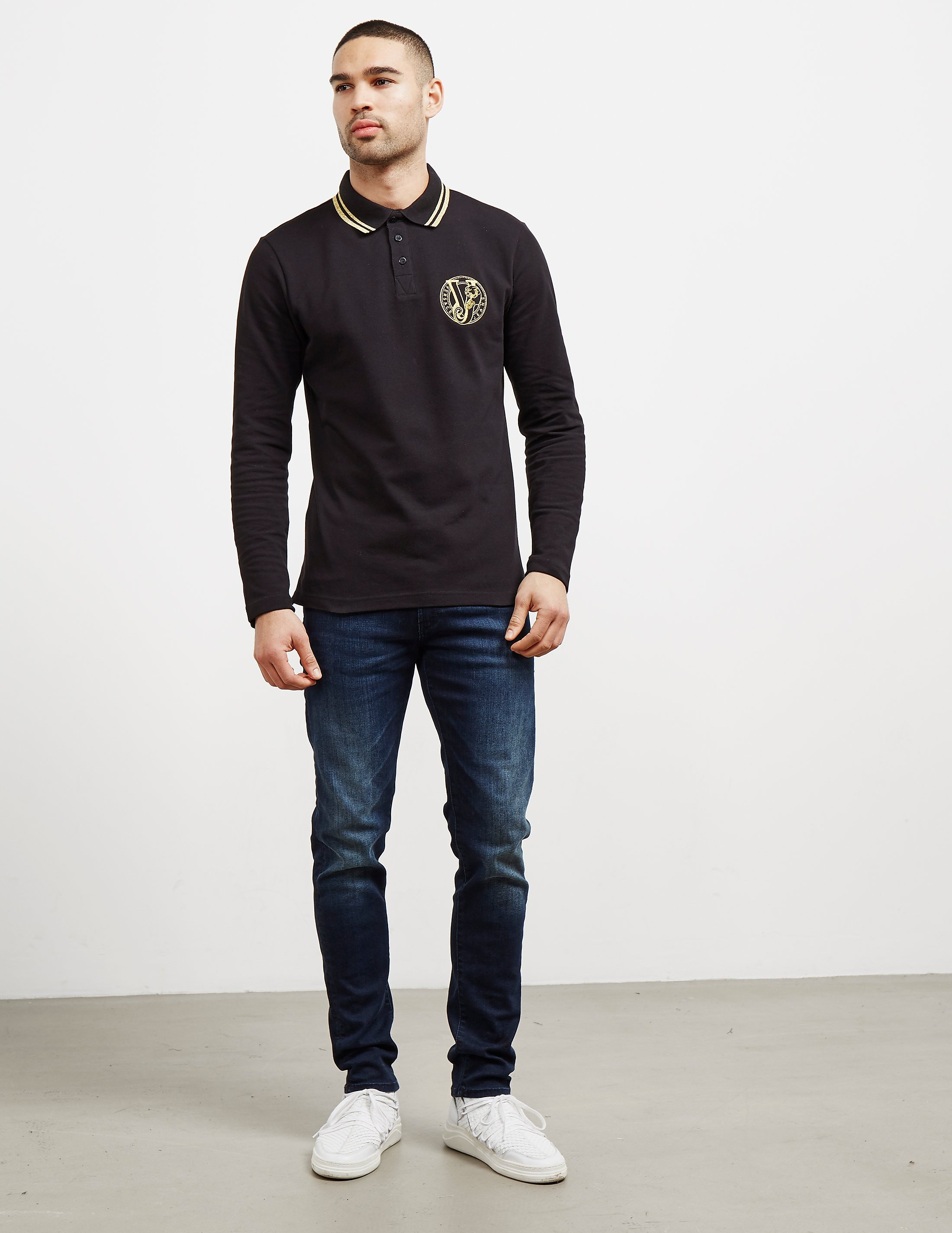 Versace Tipped Logo Long Sleeve Polo Shirt