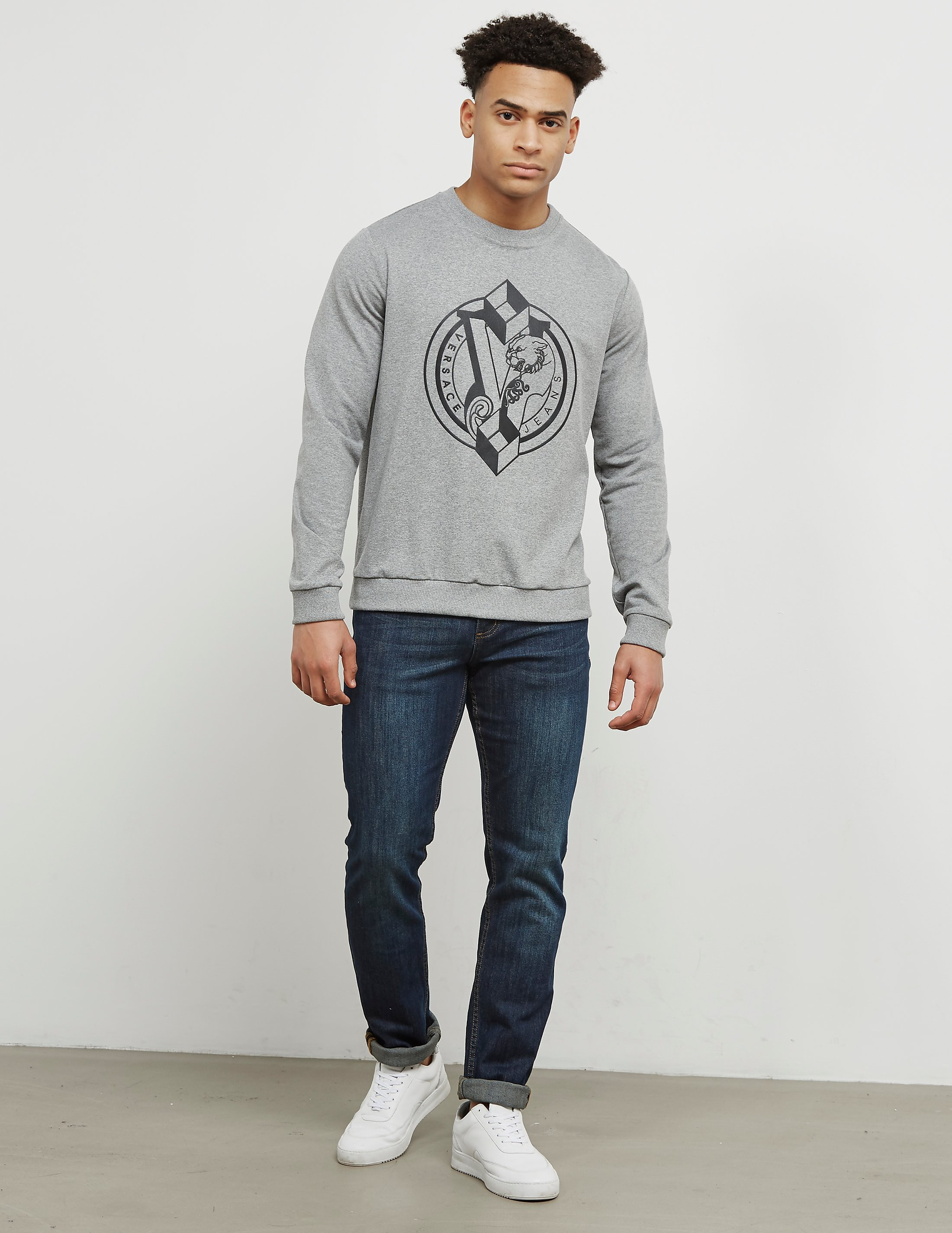 Versace Geometric Logo Crew Sweatshirt