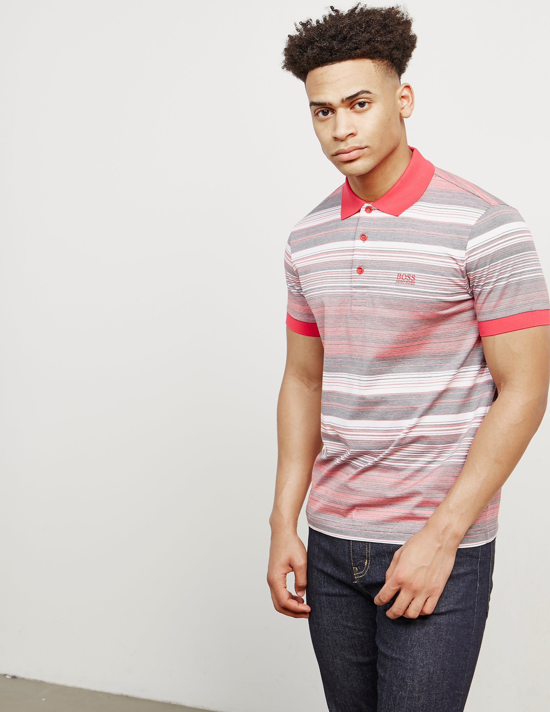 BOSS Green Paddy Stripe Short Sleeve Polo Shirt