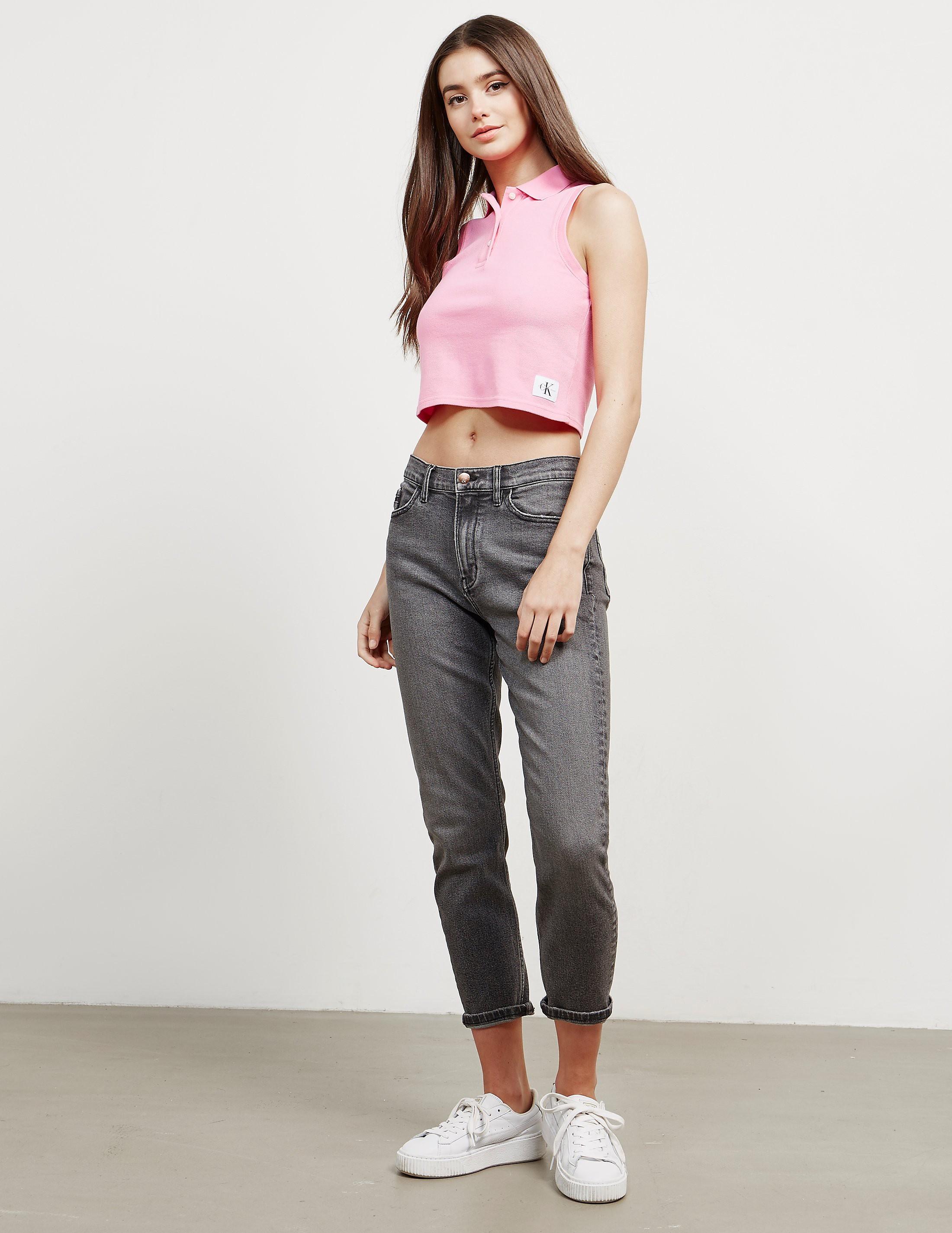 Calvin Klein Ledino Cropped Sleeveless Polo Shirt