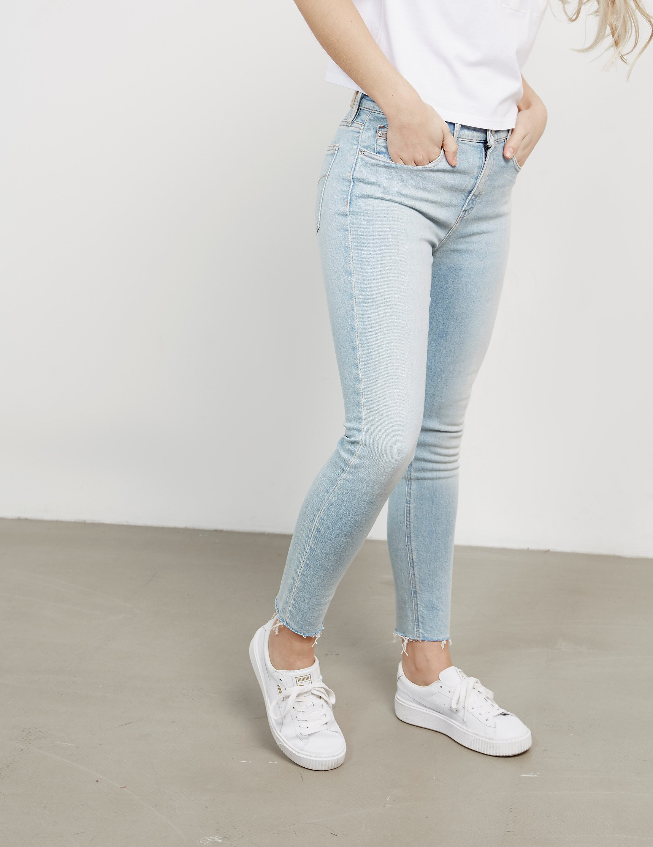 Calvin Klein High Rise Ankle Distressed Skinny Jeans