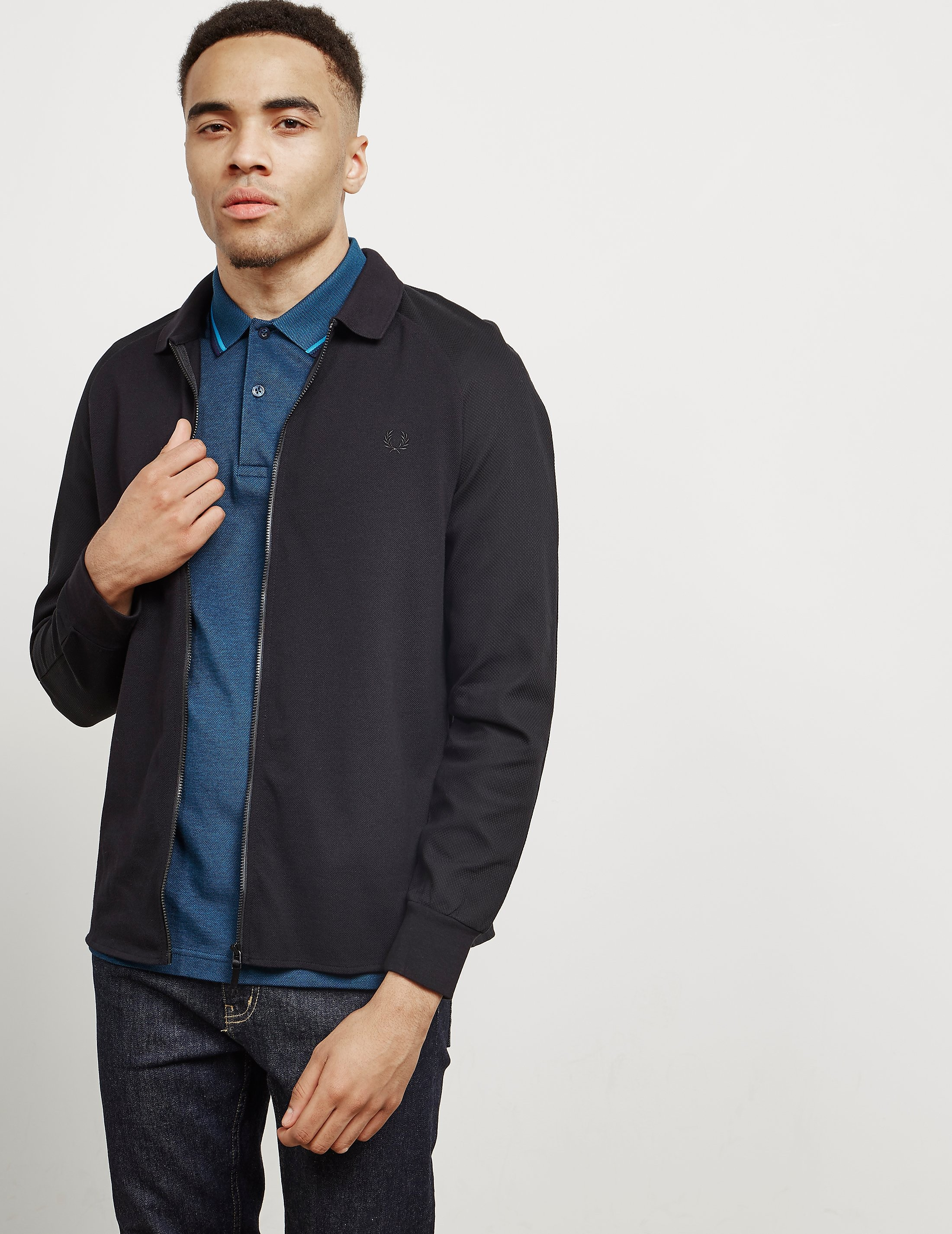 Fred Perry Long Sleeve Zip Through Pique Shirt