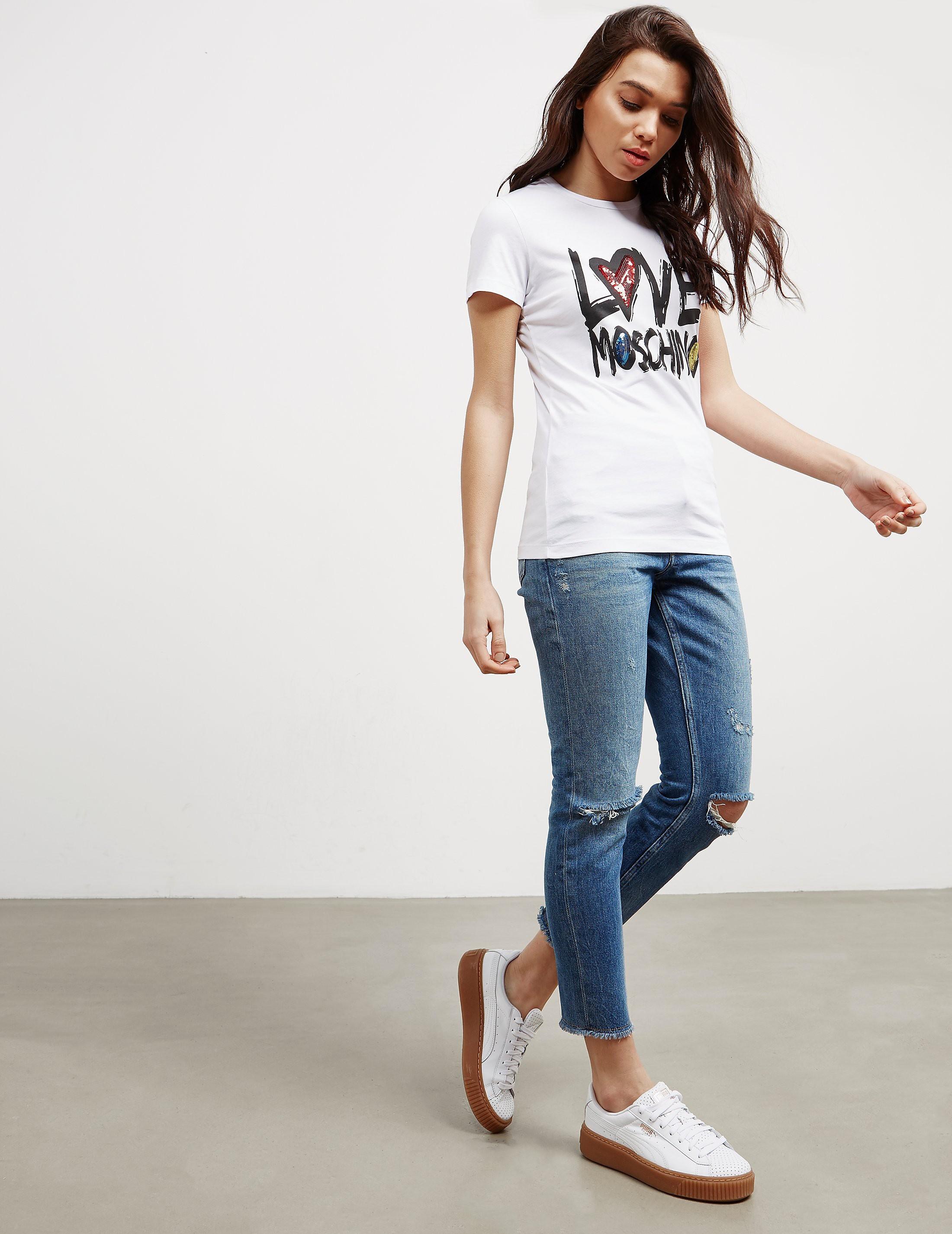 Love Moschino Script Heart Short Sleeve T-Shirt