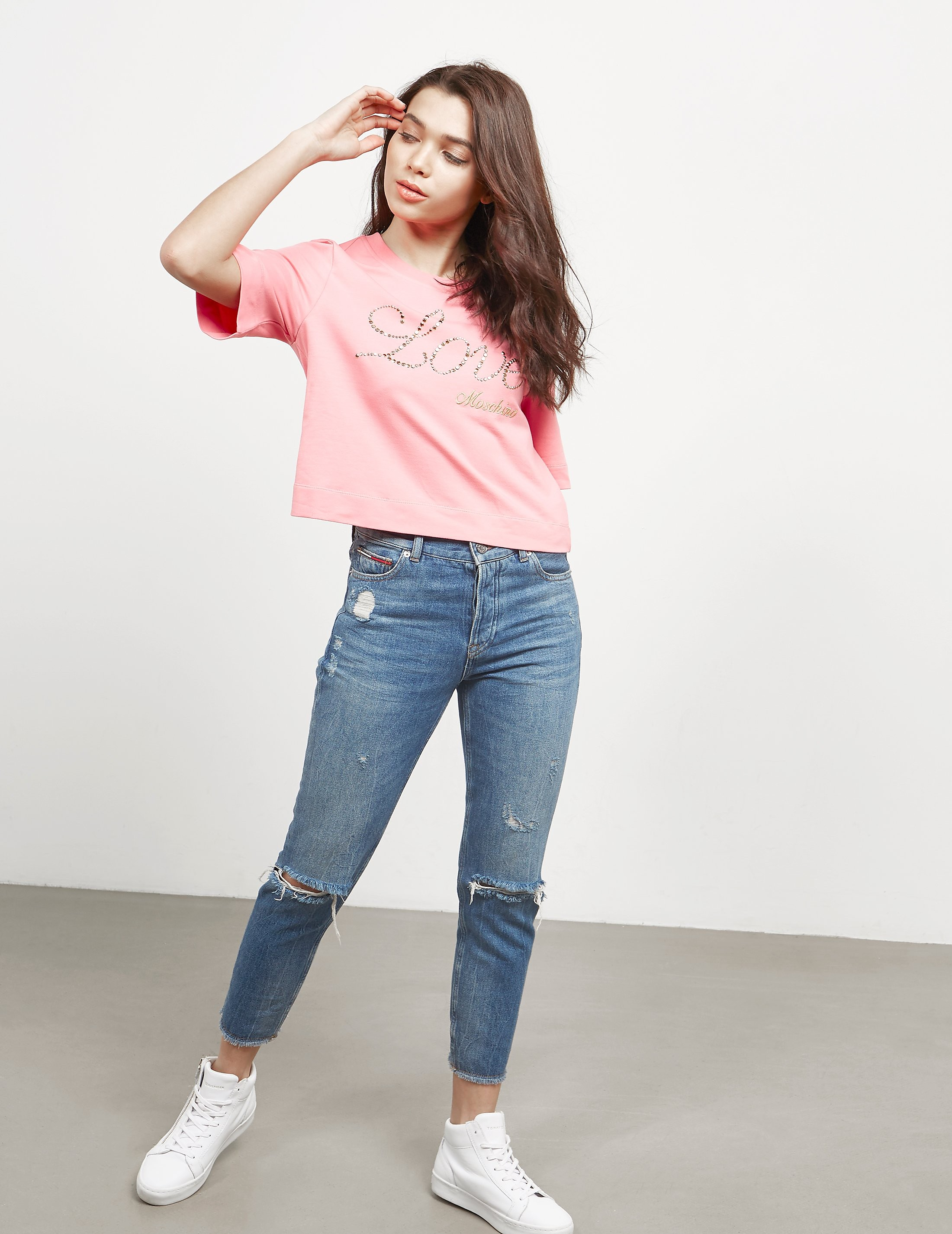 Love Moschino Stud Crop Short Sleeve T-Shirt