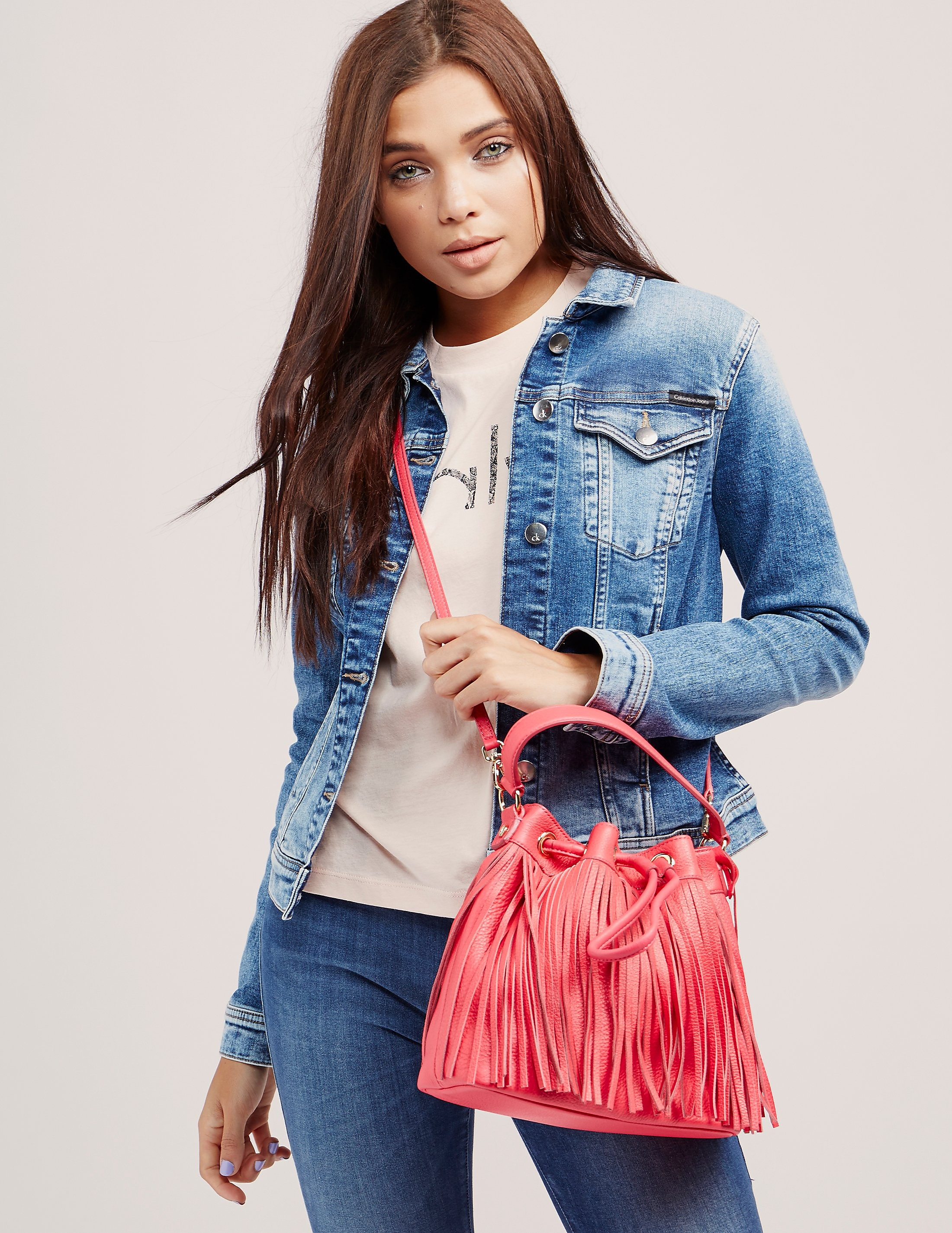Juicy Couture Topanga Fringe Leather Drawstring Bag