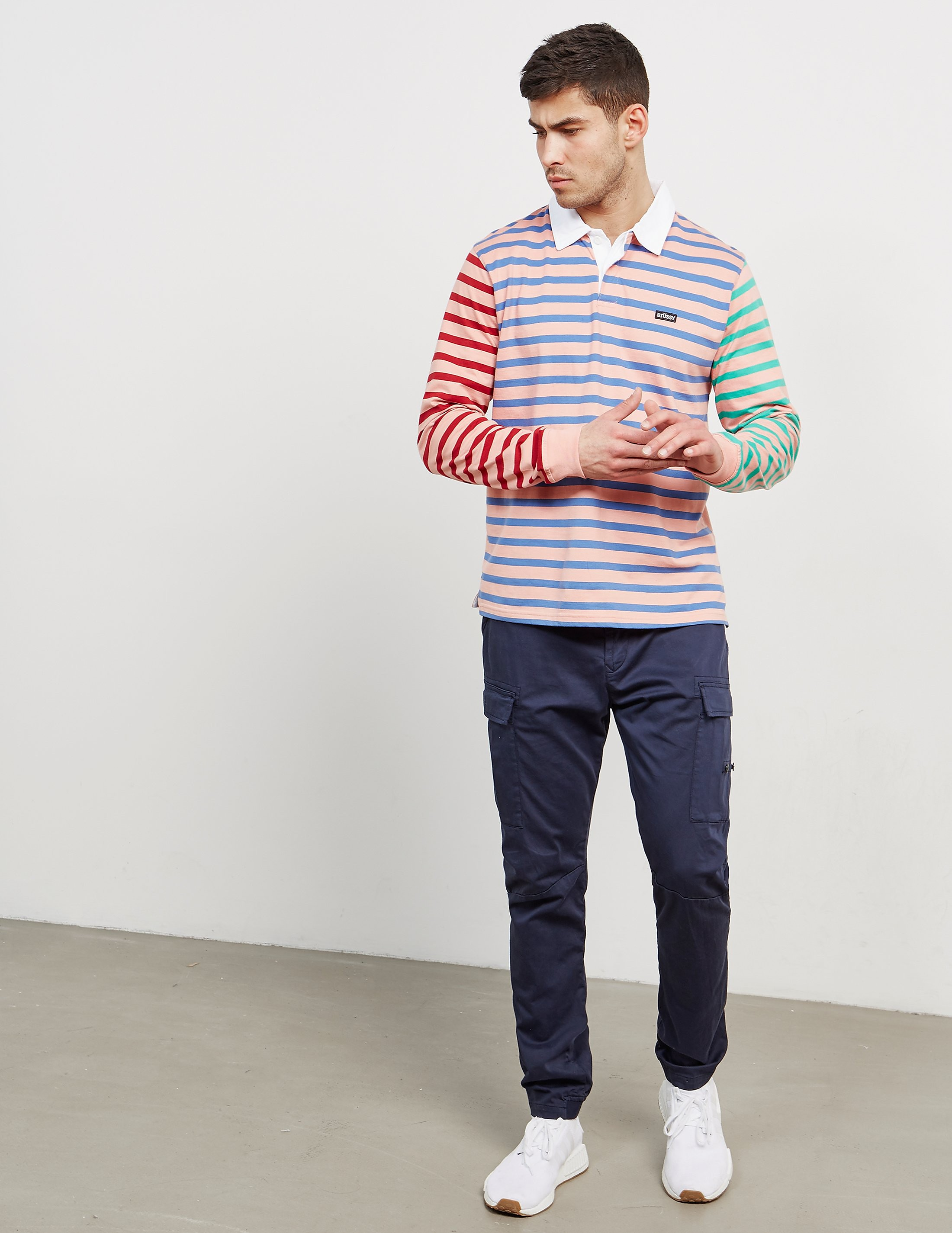 Stussy Stripe Rugby Long Sleeve Polo Shirt