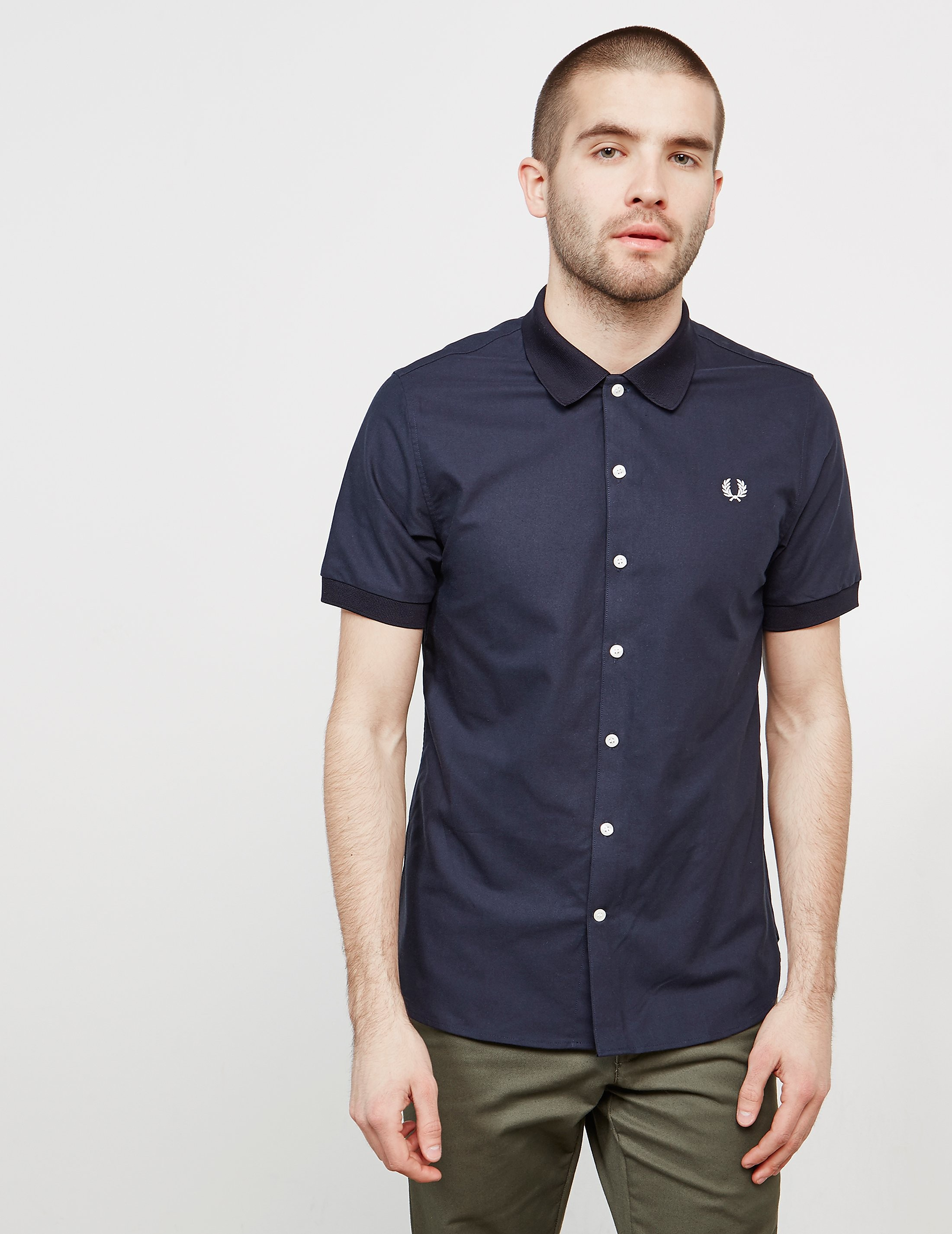 Fred Perry Knitted Collar Short Sleeve Oxford Shirt
