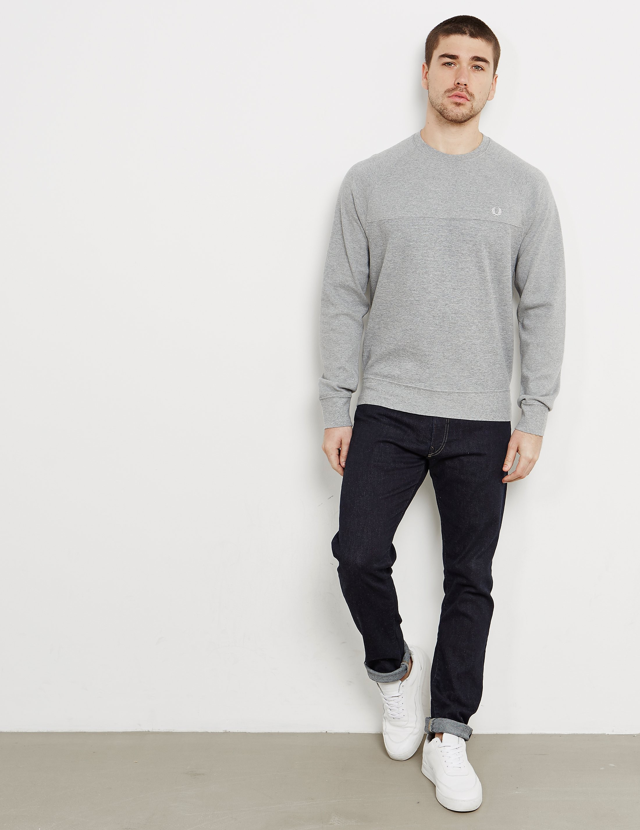 Fred Perry Textured Panelled Crew Sweatshirt